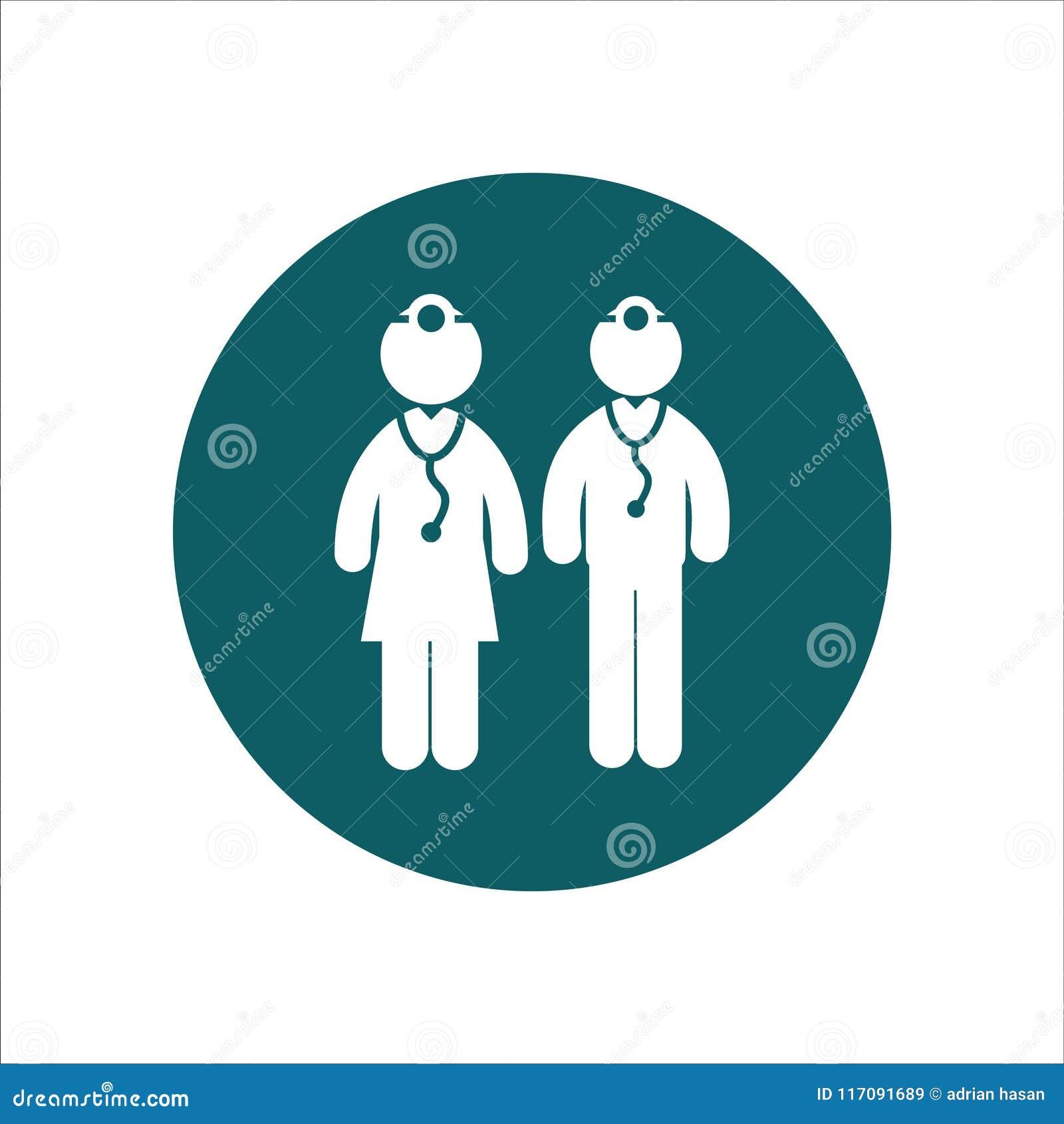 Männliche Doktoren und Ärztinnen Gesundheits-Ikonen-Vektor Ilustration