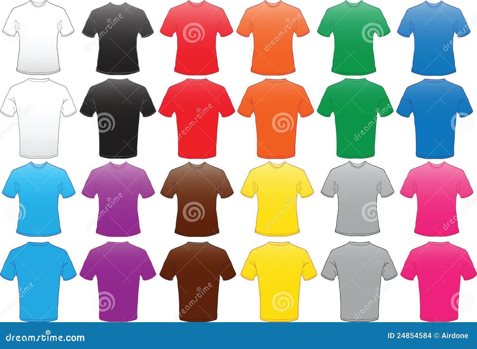 Männliche Hemdschablone In Vielen Farben Vektor Abbildung ...