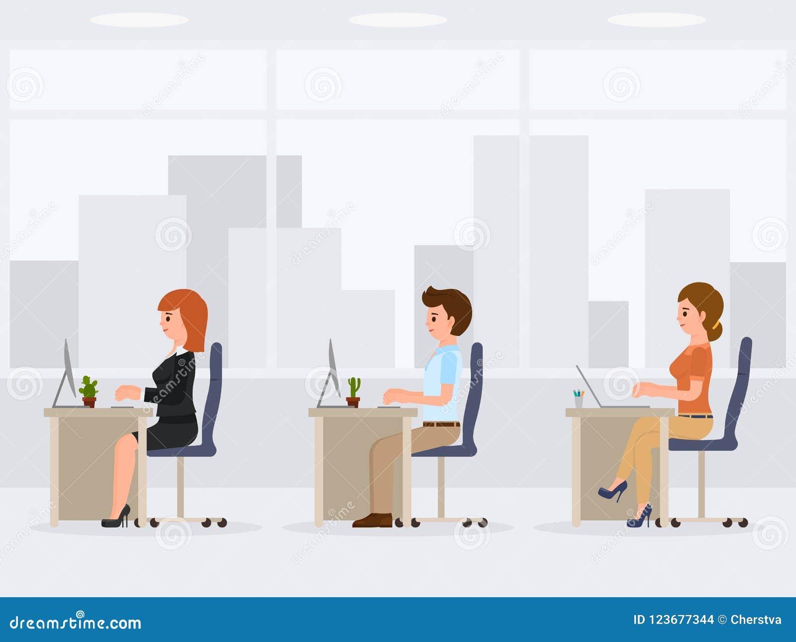 Männliche und weibliche Büroangestellte am Schreibtisch Junge Arbeitssekretärszeichentrickfilm-figur