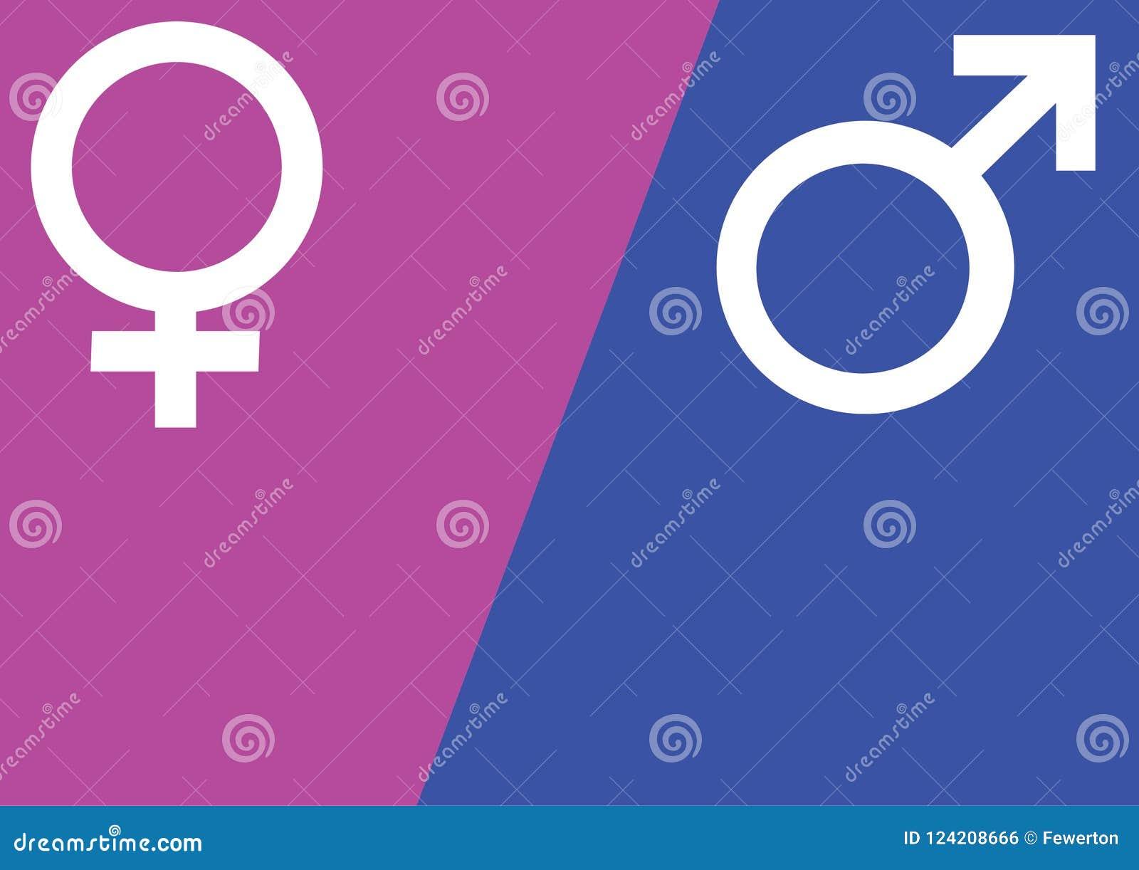 Männliche und weibliche Geschlechtssymbole Mars und Venus unterzeichnet vorbei rosa und blaue Hintergrundvektorillustration