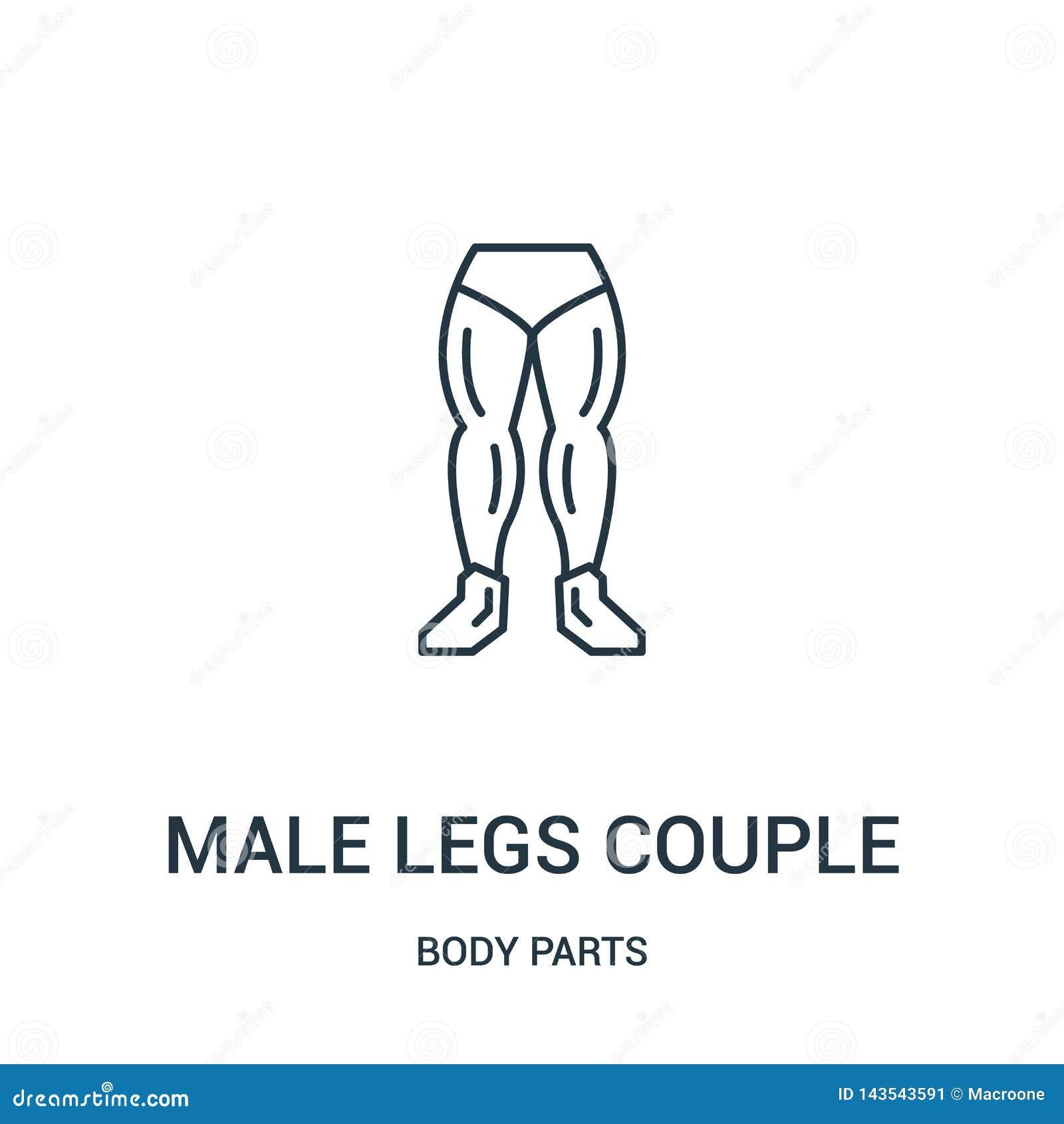 Männlicher Beinpaar-Ikonenvektor von der Körperteilsammlung Dünne Linie männliche Beinpaarentwurfsikonen-Vektorillustration