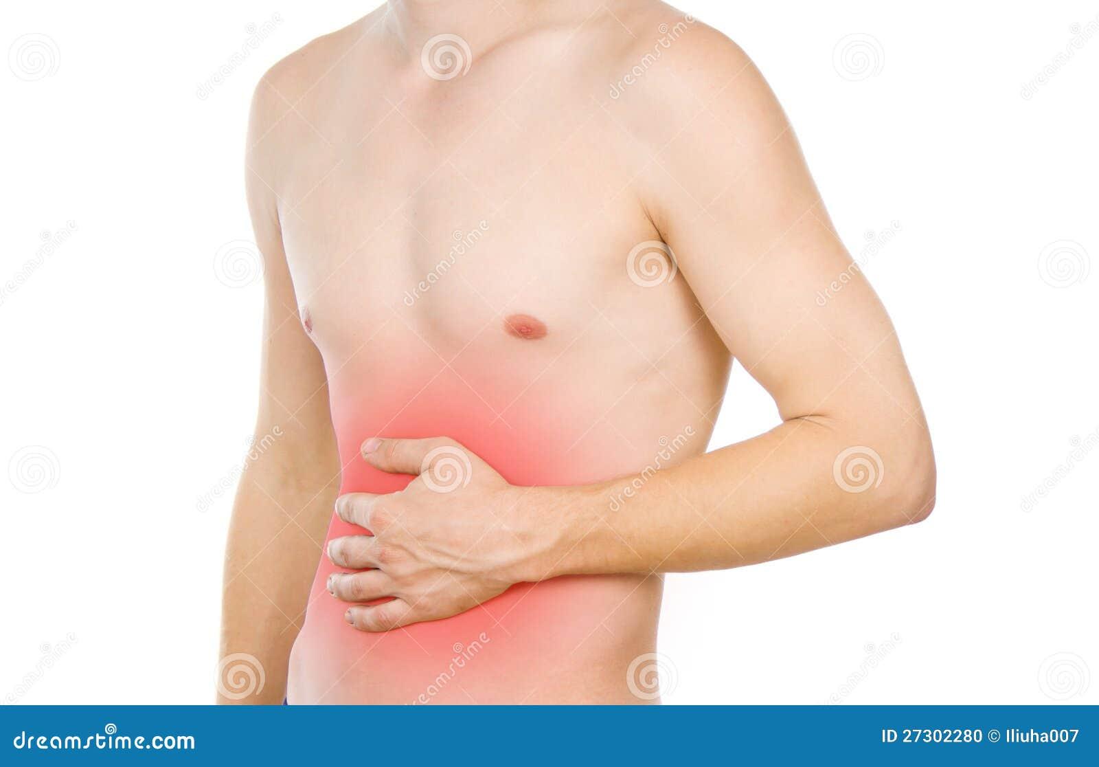 Männlicher Torso, Schmerz im Abdomen