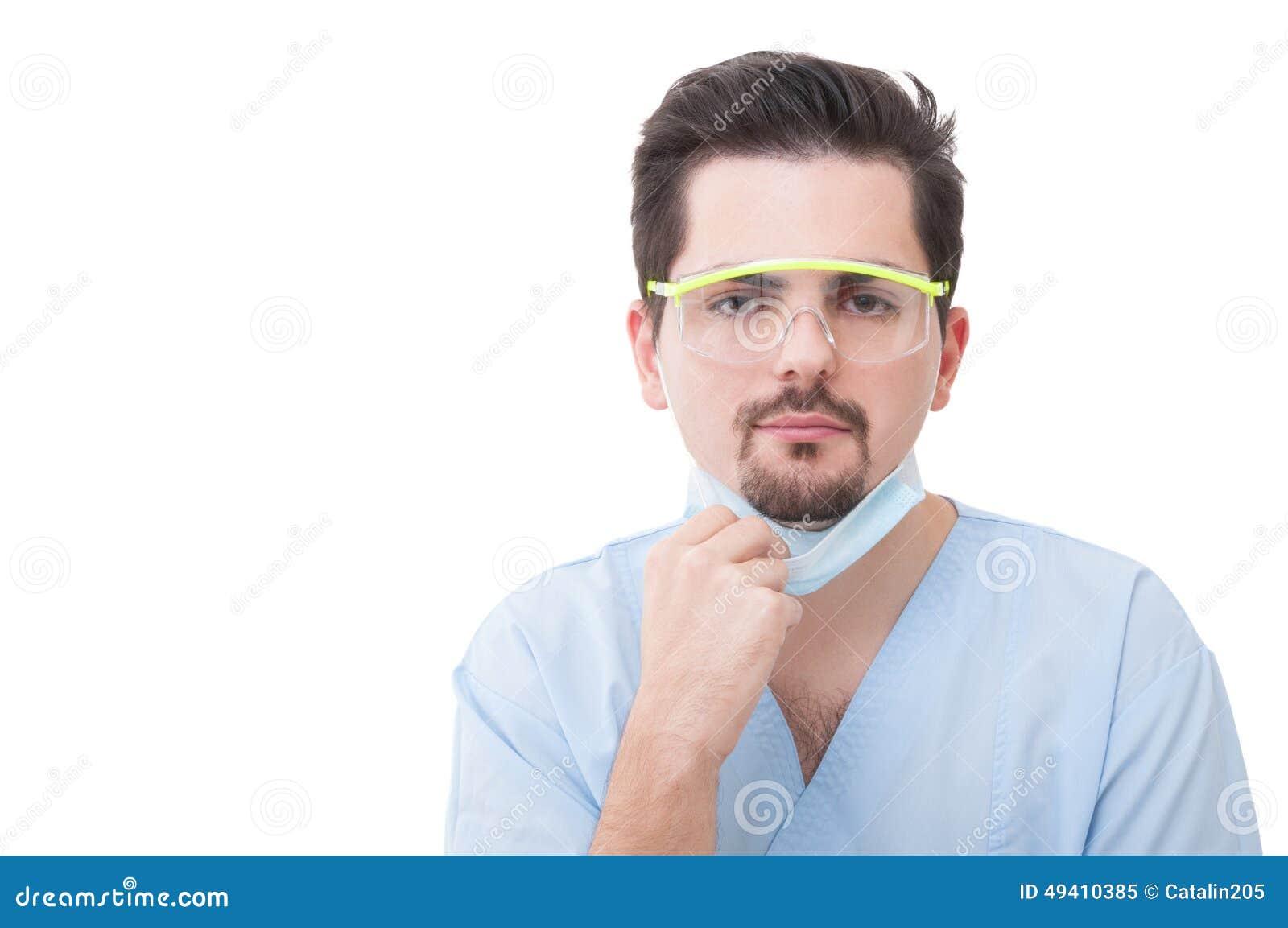 Download Männlicher Zahnarzt, Der Seine Schutzmaske Hält Stockbild - Bild von fachmann, gesicht: 49410385