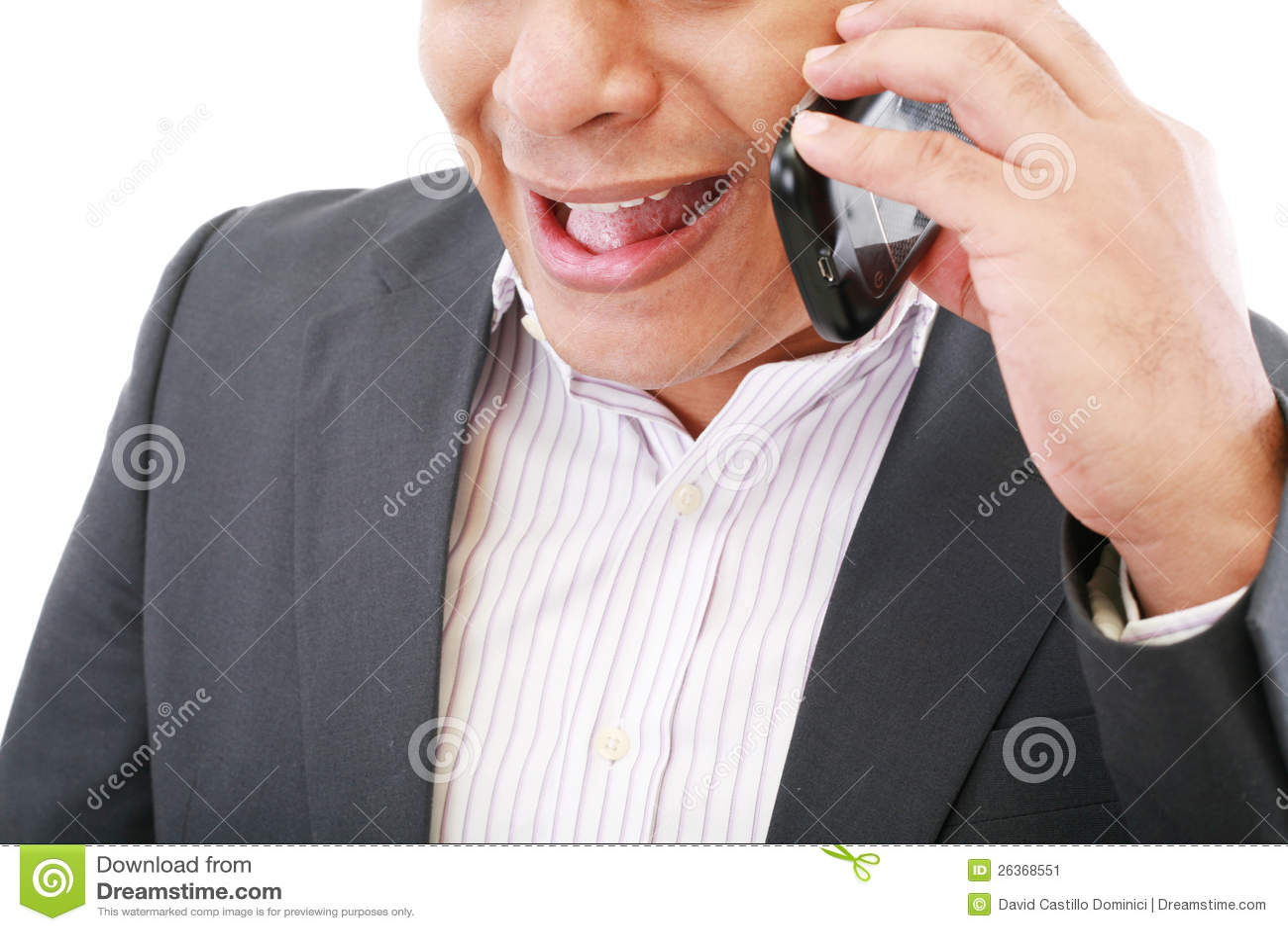 Männliches Executivkreischen auf seinem Handy