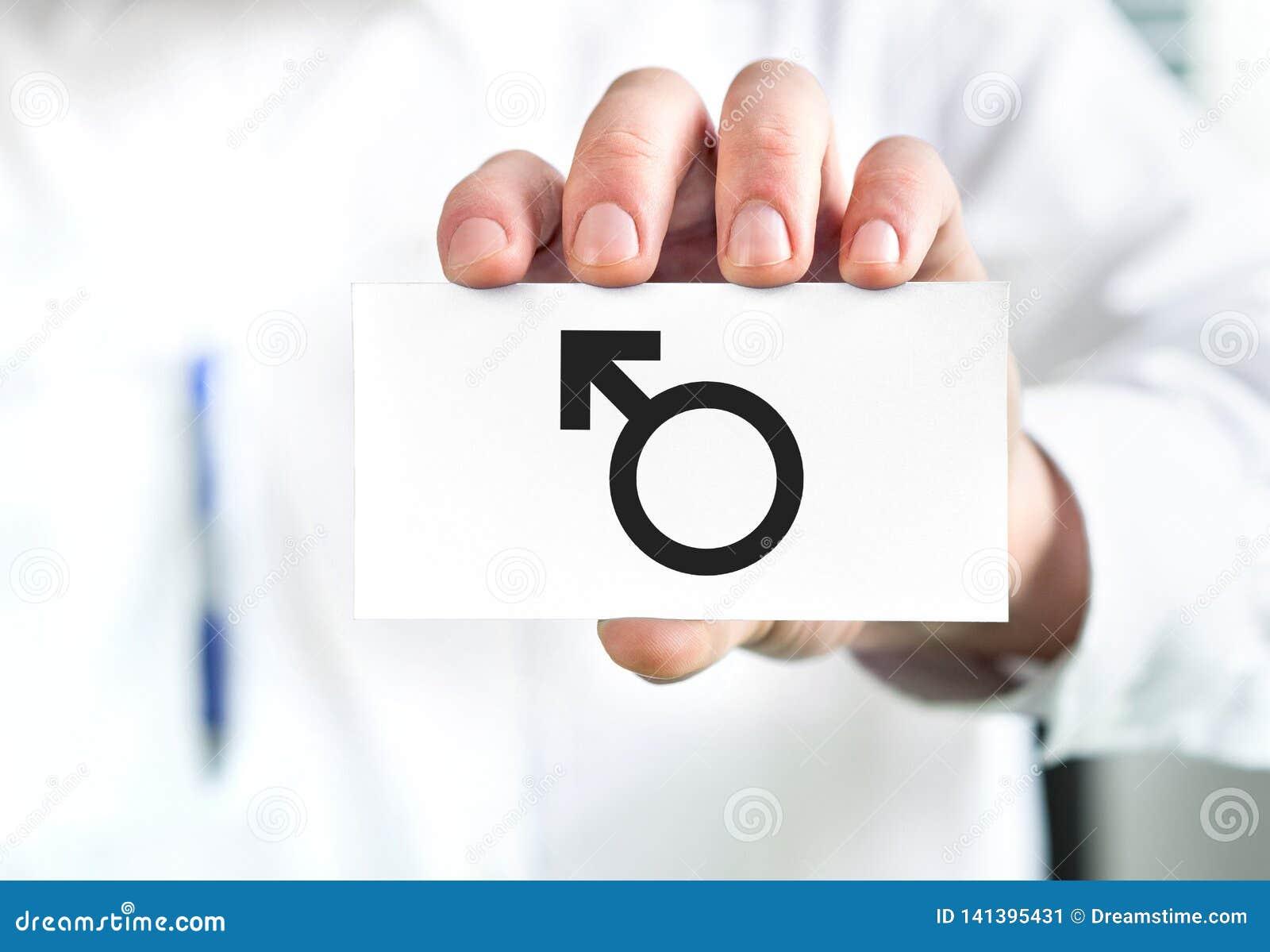 Männliches Gesundheitskonzept Doktor, der Visitenkarte mit Mannsymbol hält Urologe oder Spezialist