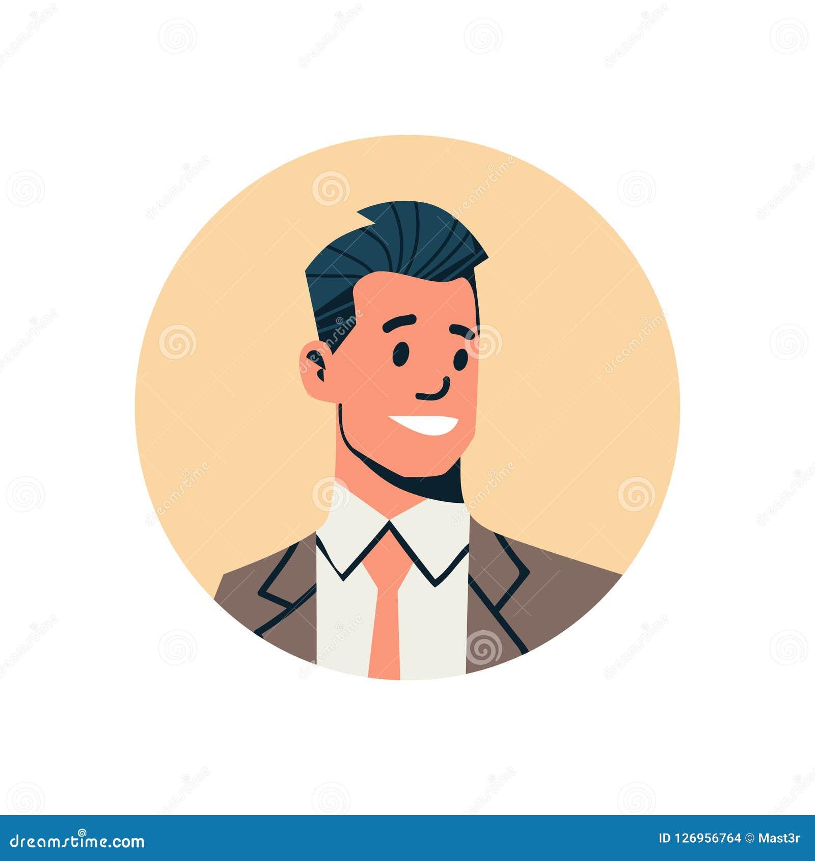 Männliches Zeichentrickfilm-Figur-Porträt des Brunettegeschäftsmannavataramanngesichtsprofilikonenkonzepton-line-Beistandsservice