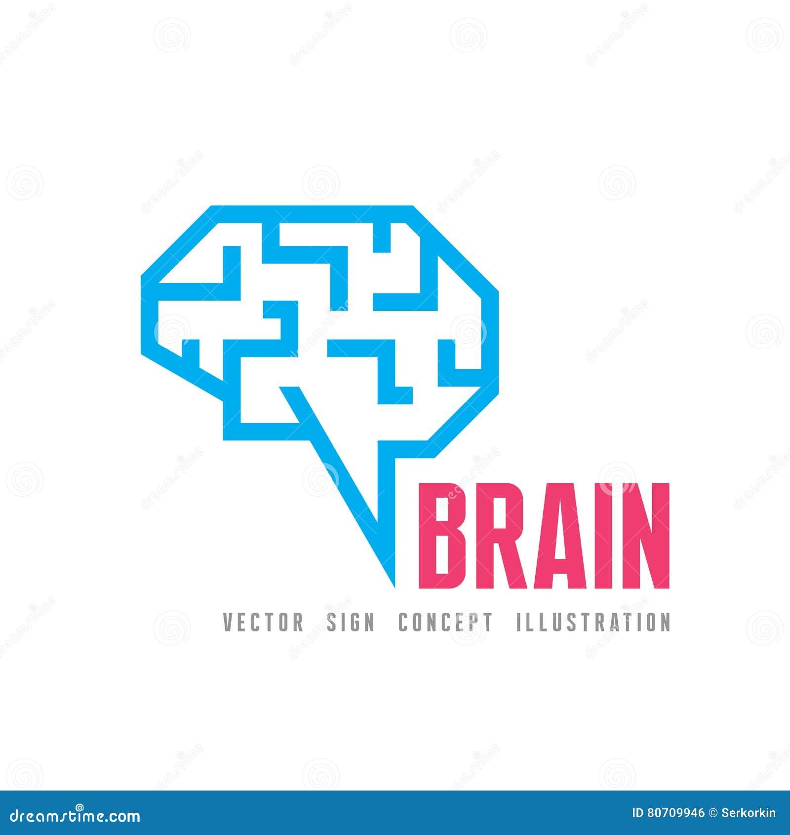 Mänsklig hjärna - illustration för begrepp för vektorlogomall Geometriskt meningsstrukturtecken Idérikt idésymbol