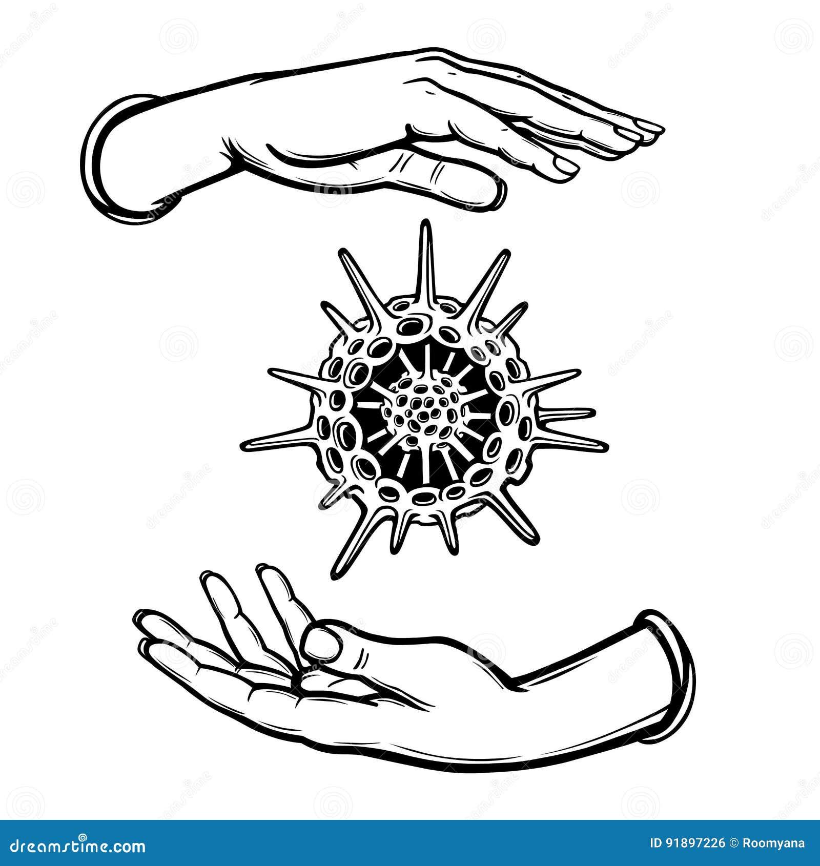 m u00e4nskliga h u00e4nder rymmer ett skelett av en radiolaria f u00f6r f u00e4rgl u00e4ggningdiagram f u00f6r bok f u00e4rgrik