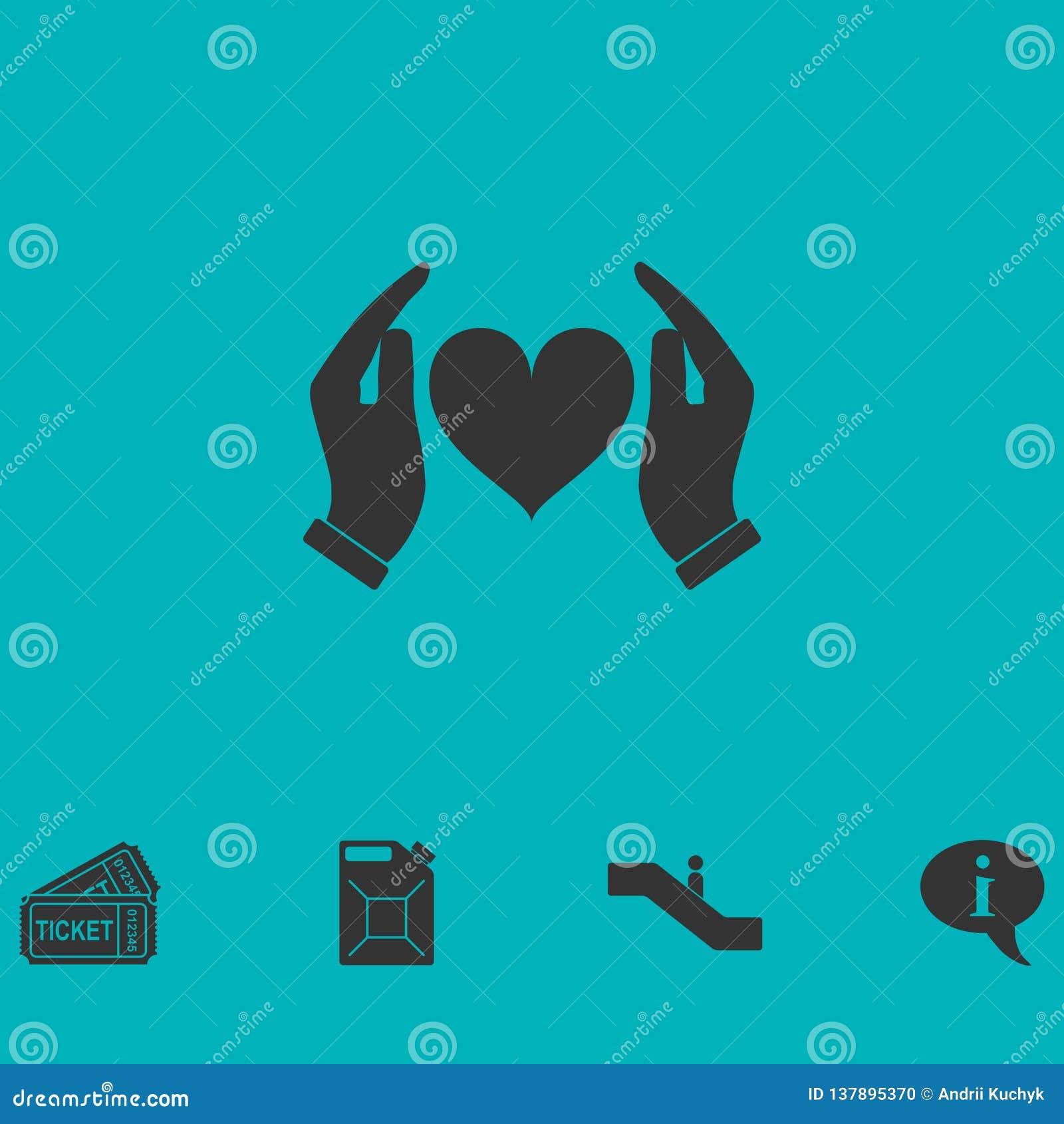Mänskliga händer som rymmer och att skydda hjärtasymbolen framlänges
