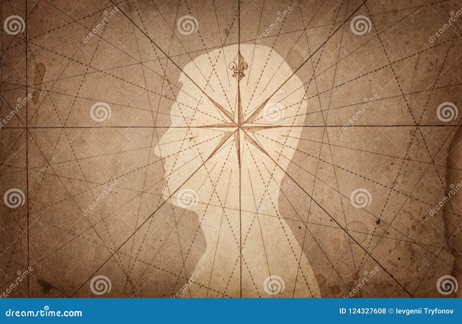Mänskligt huvud och kompass Begreppet på ämnet av navigering,