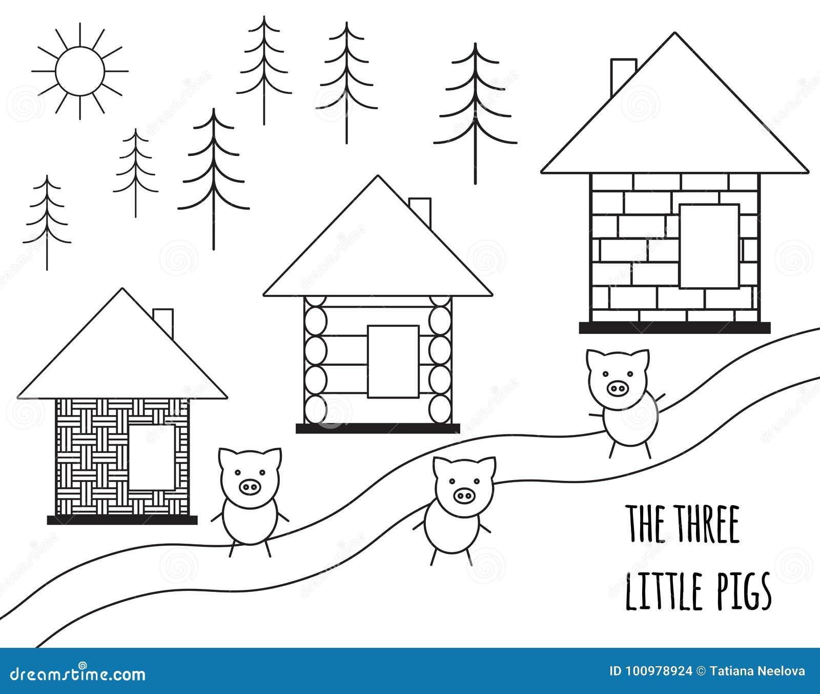 Märchen mit drei kleine Schweinen Vektorabbildung getrennt auf weißem Hintergrund Einfaches Schwarzweiss-Schattenbild