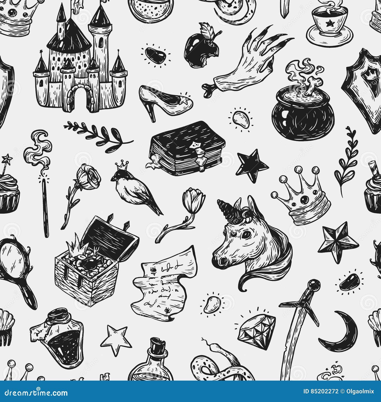 Märchen, Muster vektor abbildung. Illustration von gezeichnet - 85202272