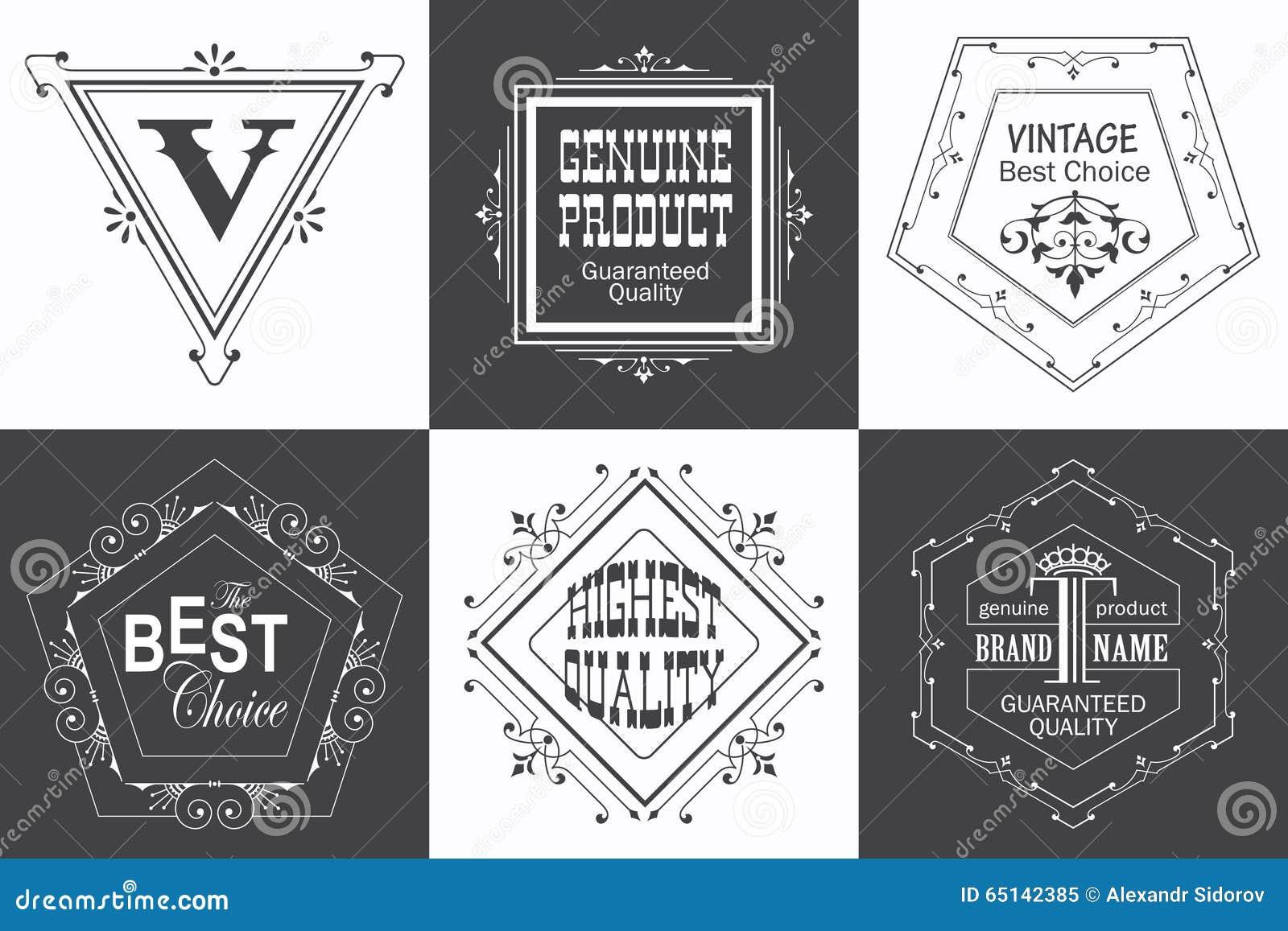 Märka logomallen med calligraphic eleganta prydnadbeståndsdelar för krusidullar