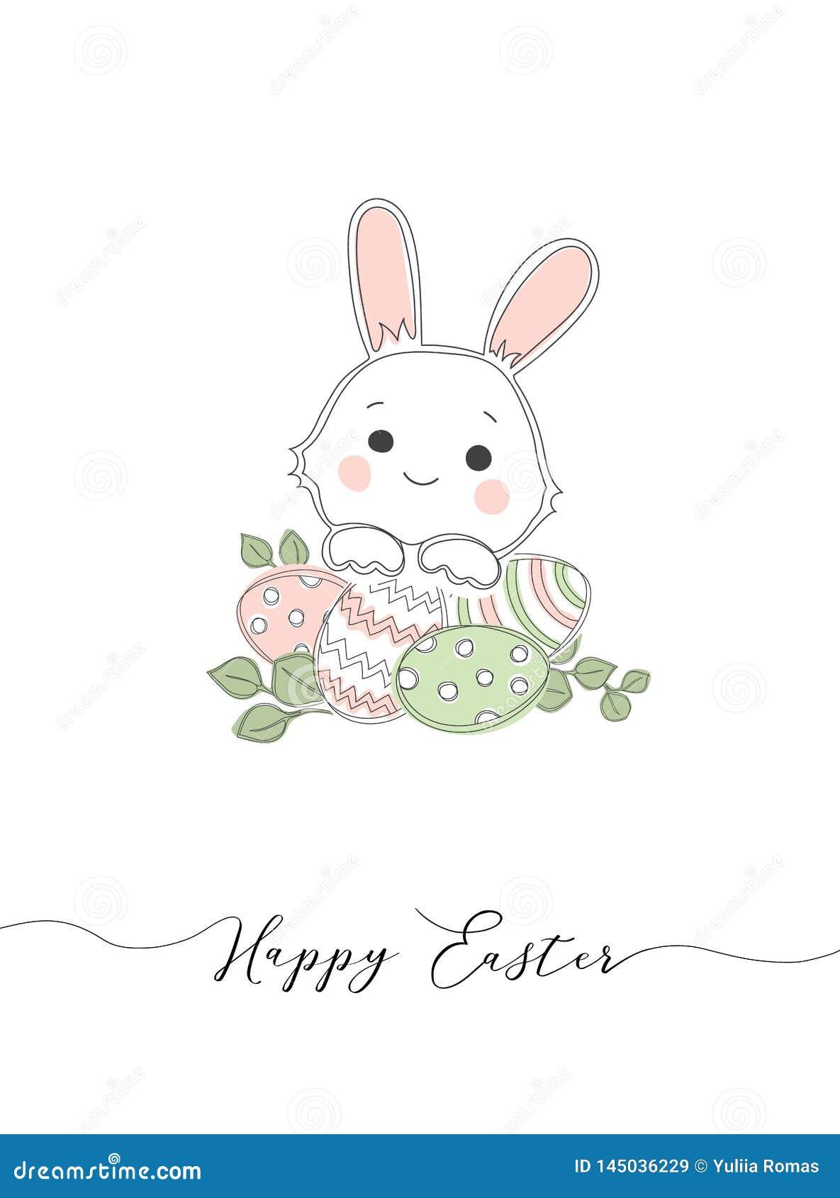 Märka lycklig påsk och vit kaninbotten på vit bakgrund