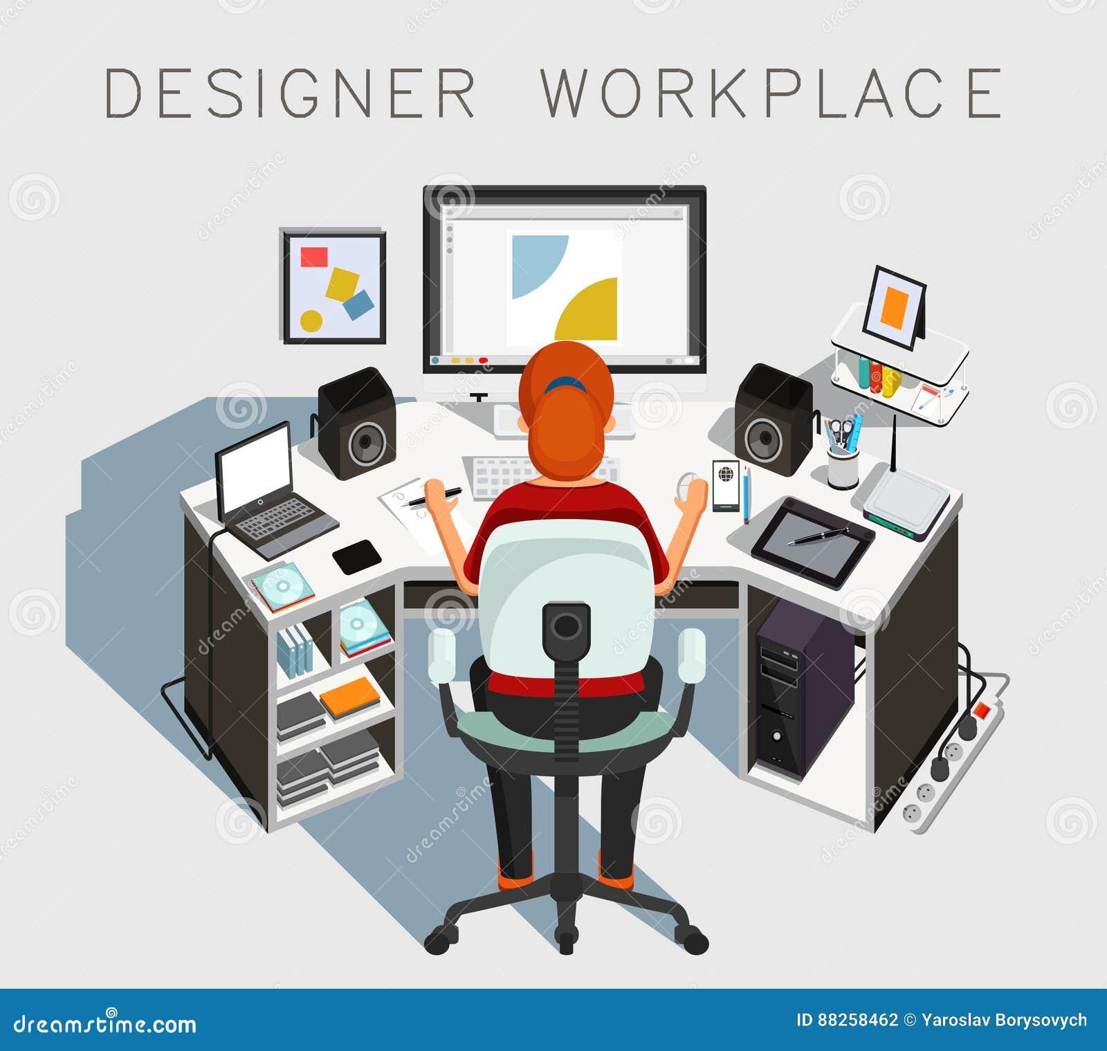 Märkes- arbetsplats märkes- arbete vektor