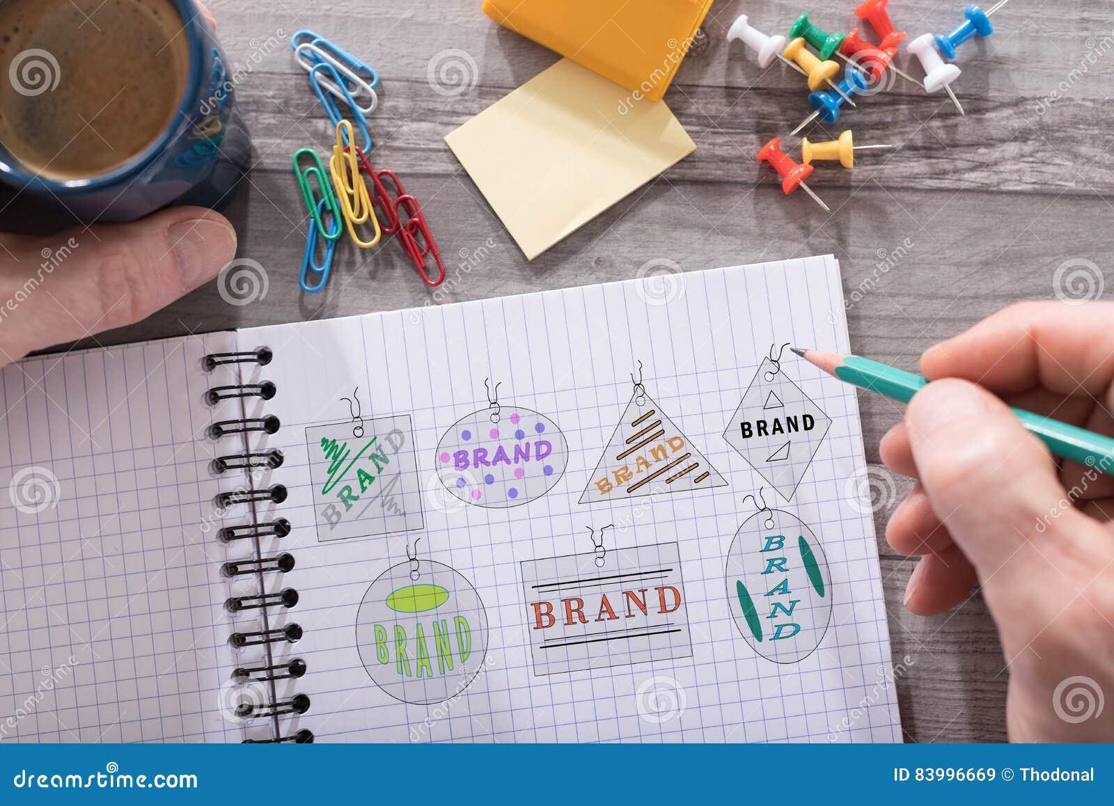 Märkesbegrepp på en notepad