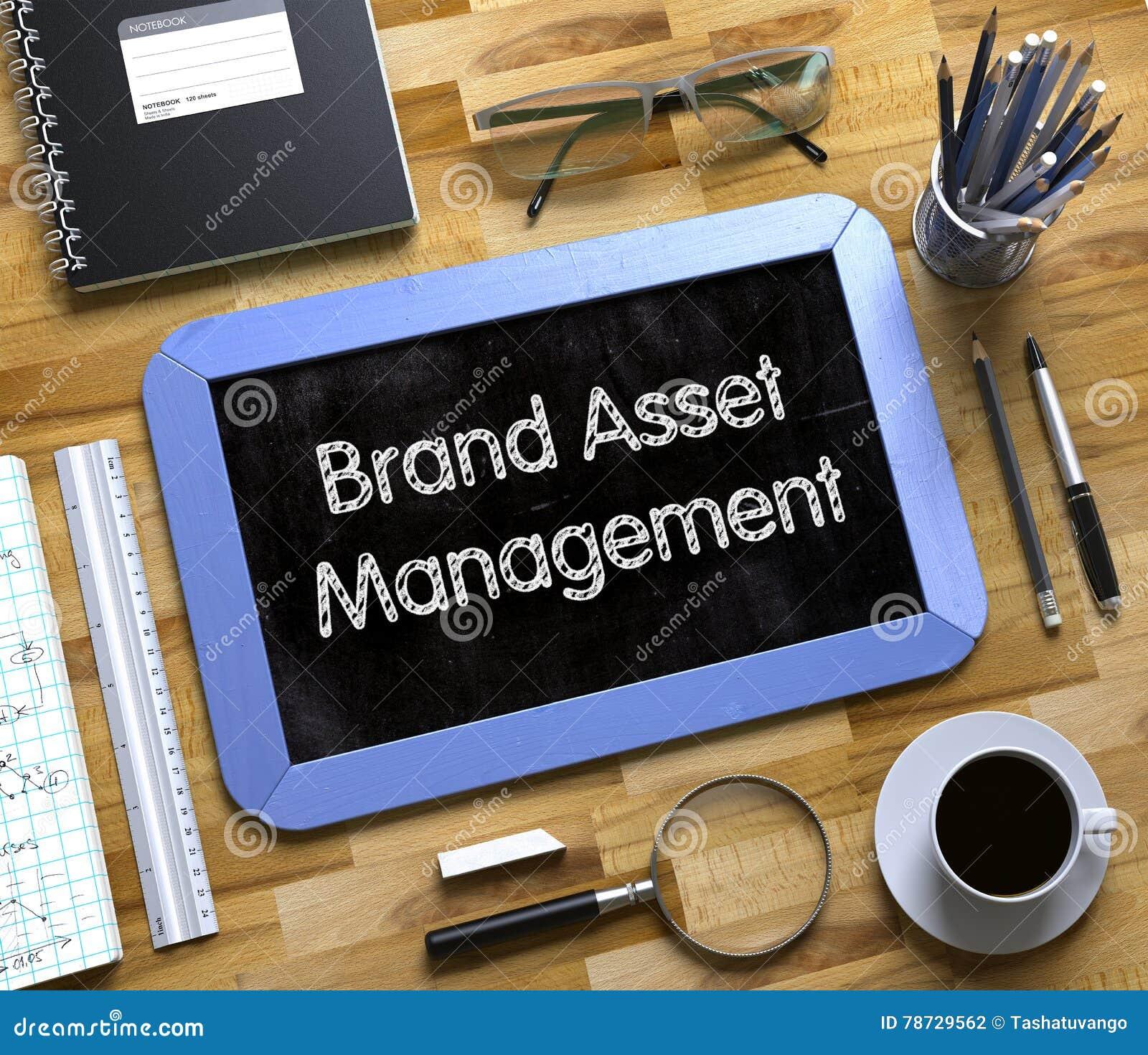Märkeskapitalförvaltningbegrepp på den lilla svart tavlan 3d