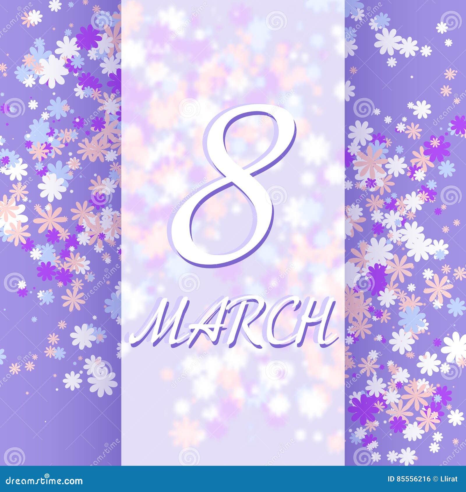 8. März Frauen ` s Tagesgrußkartenschablone