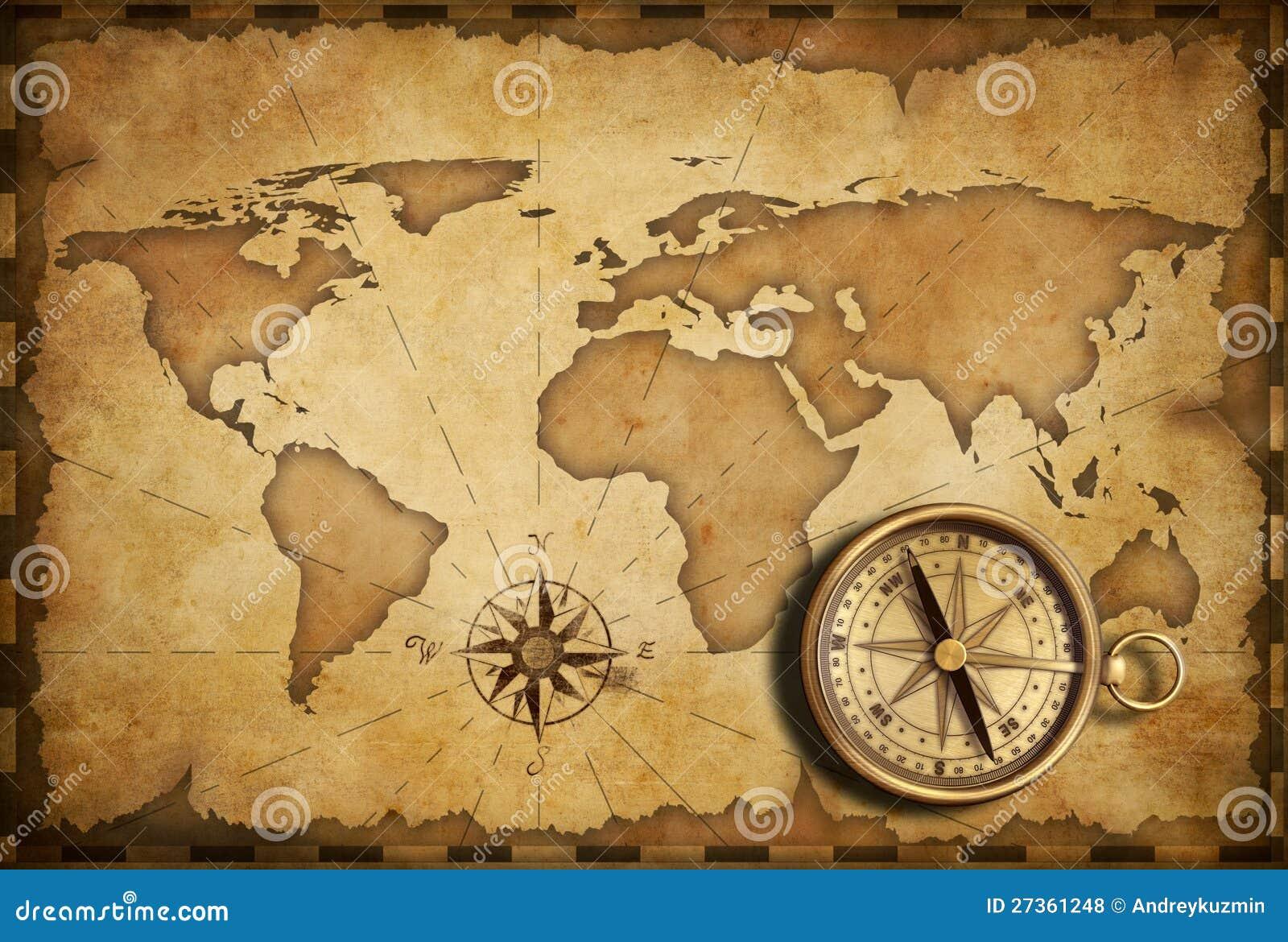 Mässingsantik nautisk kompass med den gammala översikten