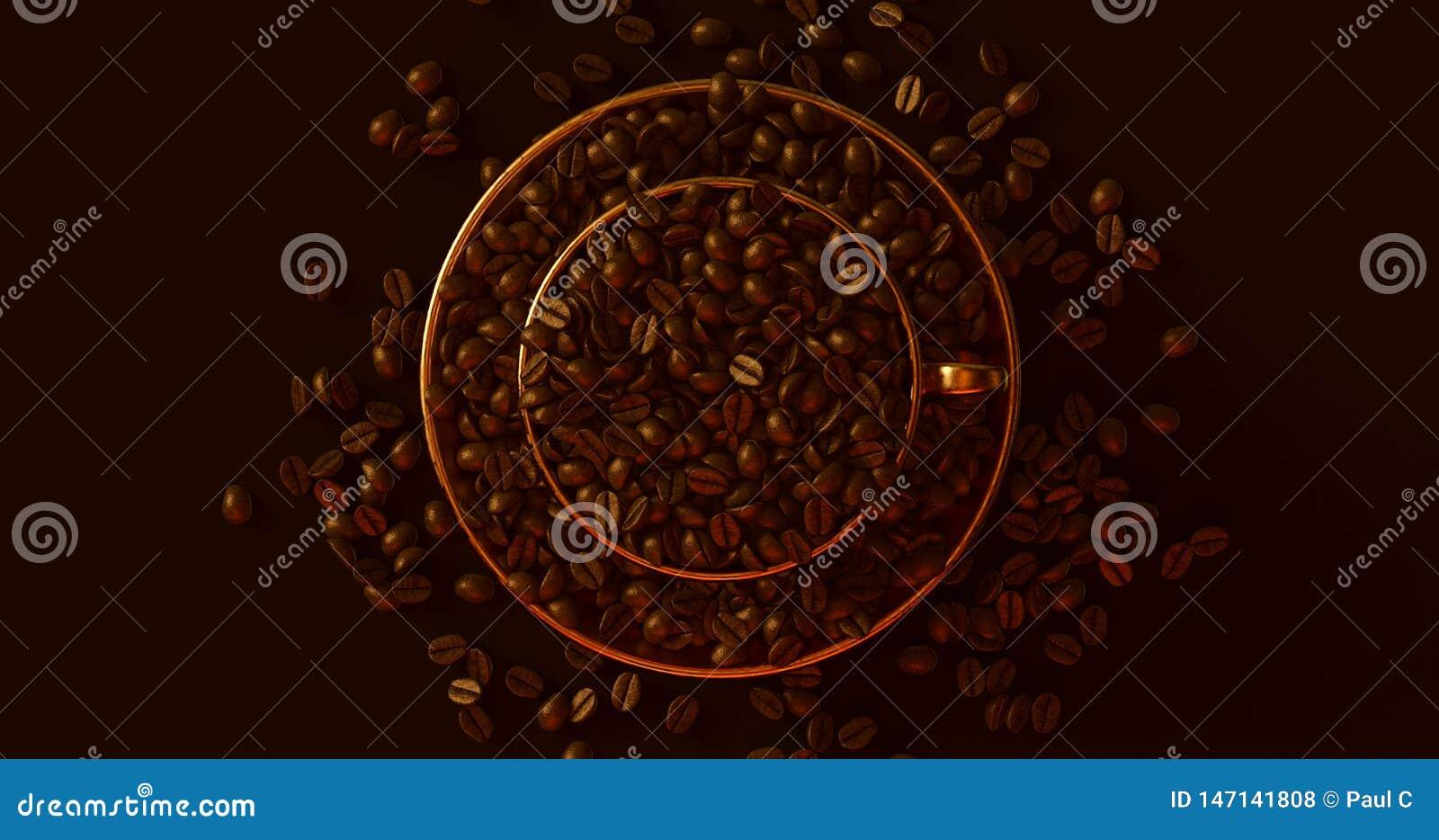 Mässingsguld- kaffekopp ett tefat som är fullt av kaffebönor