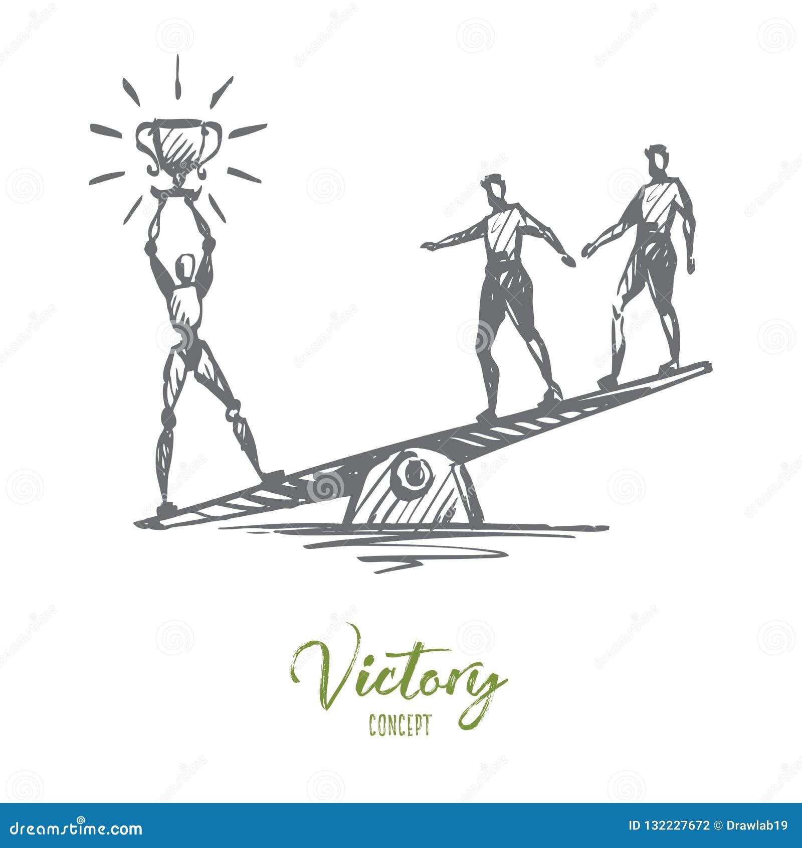 Mästare framgång, seger, HCI, automation, teknologibegrepp Hand dragen isolerad vektor