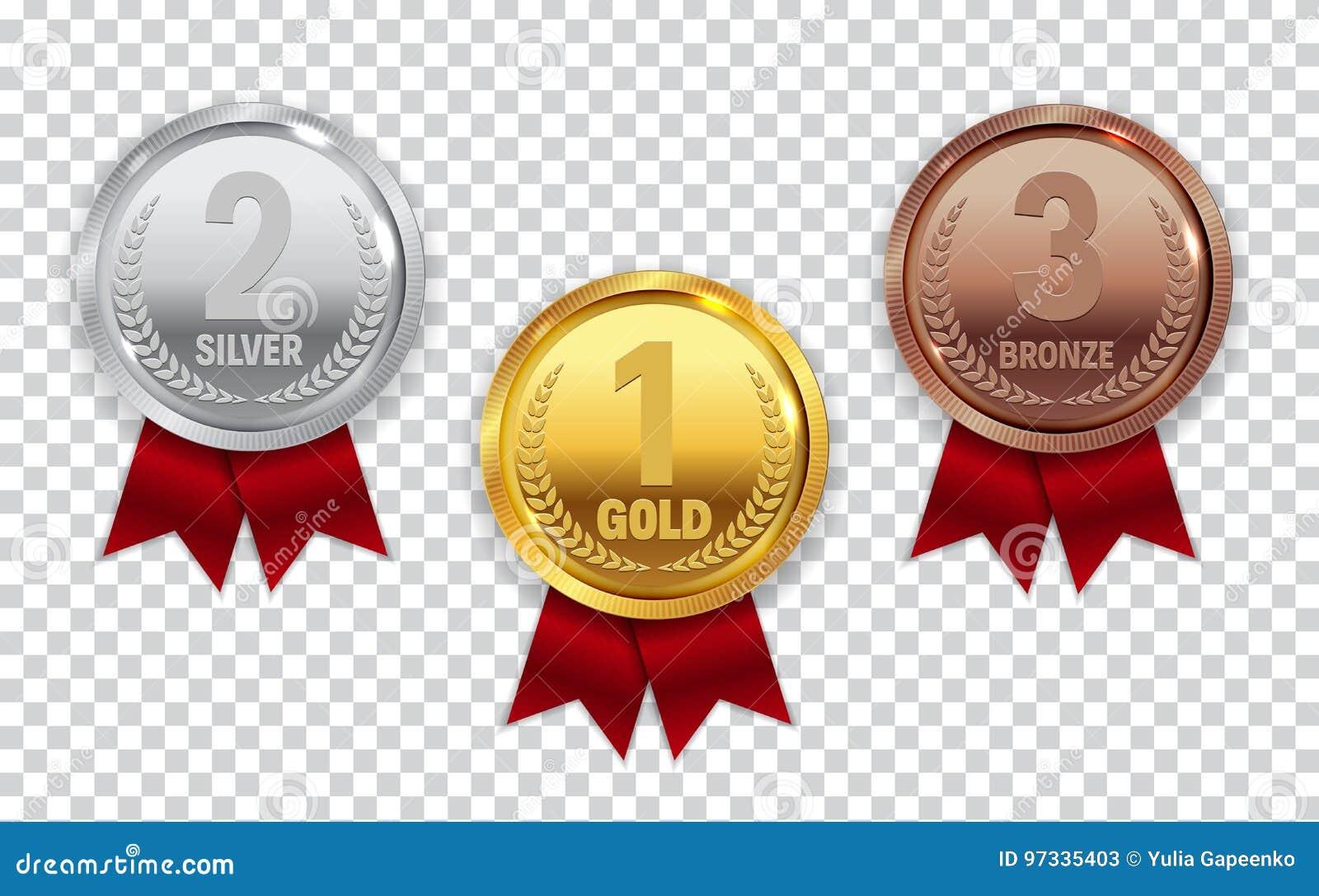Mästareguld, silver och bronsmedalj med det röda bandsymbolstecknet