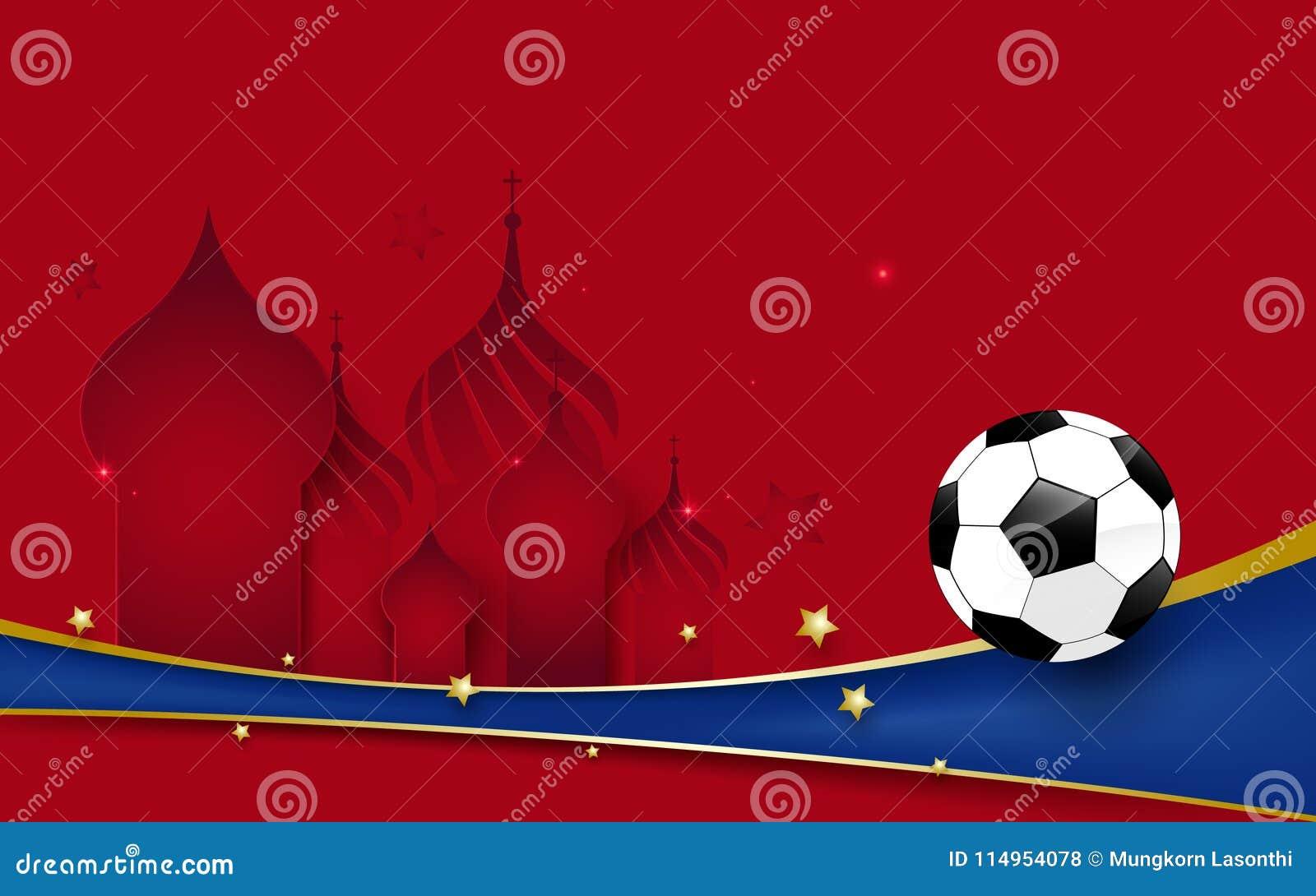 Mästerskap 2018 för fotbollvärldsfotboll Fotboll på domkyrka för basilika s och blålinjenbakgrund