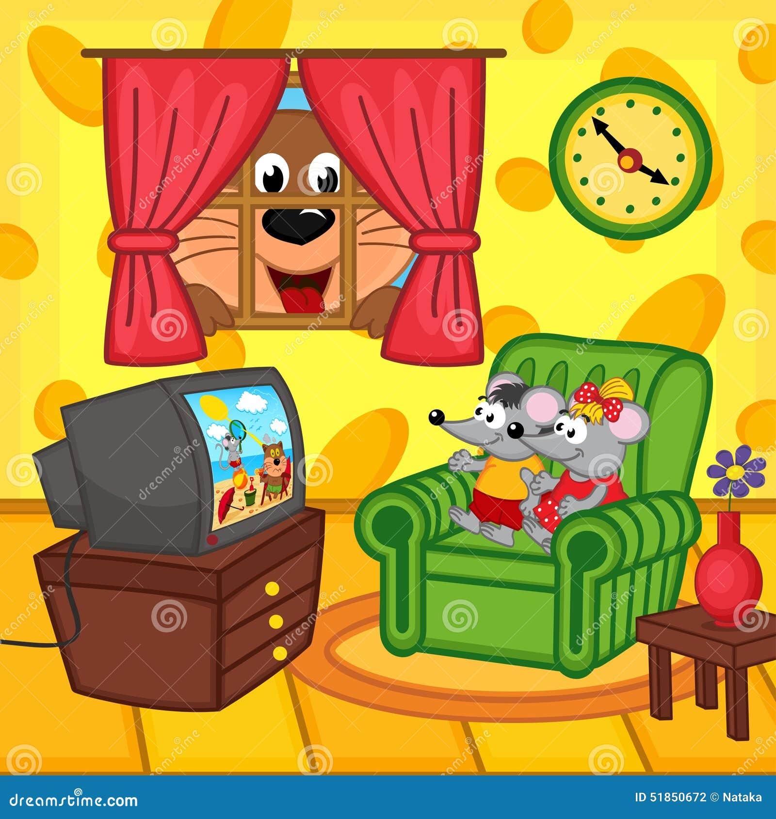 Mäuseaufpassende Fernsehzu hause Katze, die durch Fenster lugt