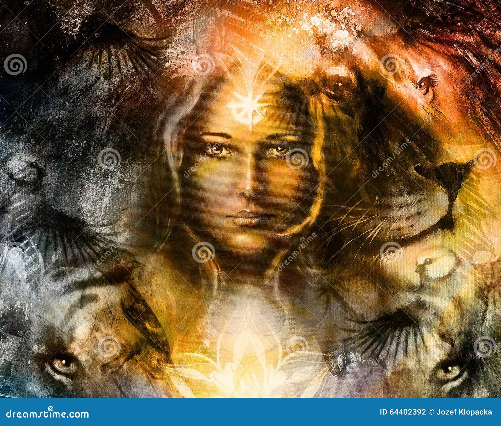 Måla det väldiga lejon- och tigerhuvudet och mystiker