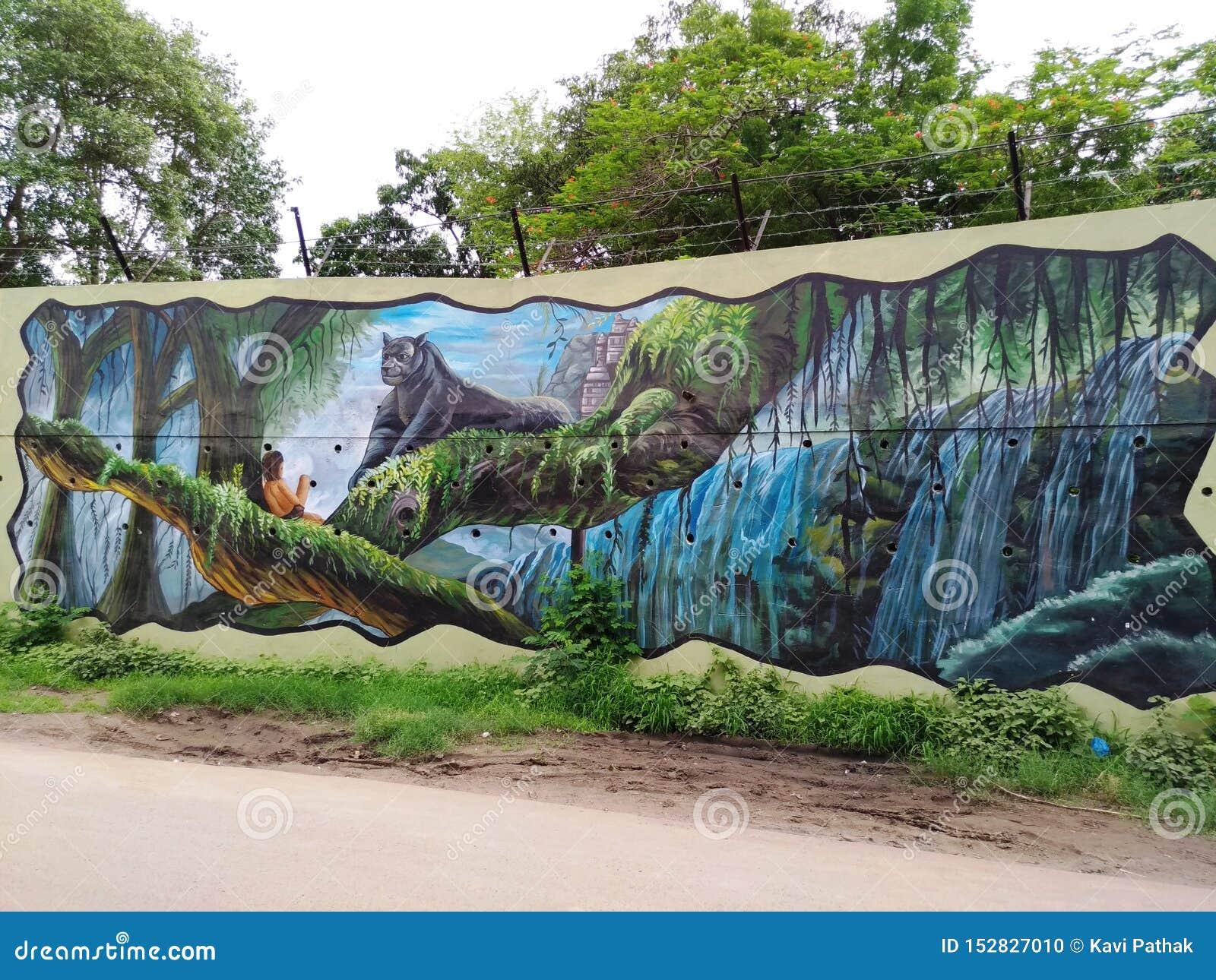 Måla på väggen av en lokal konstnär