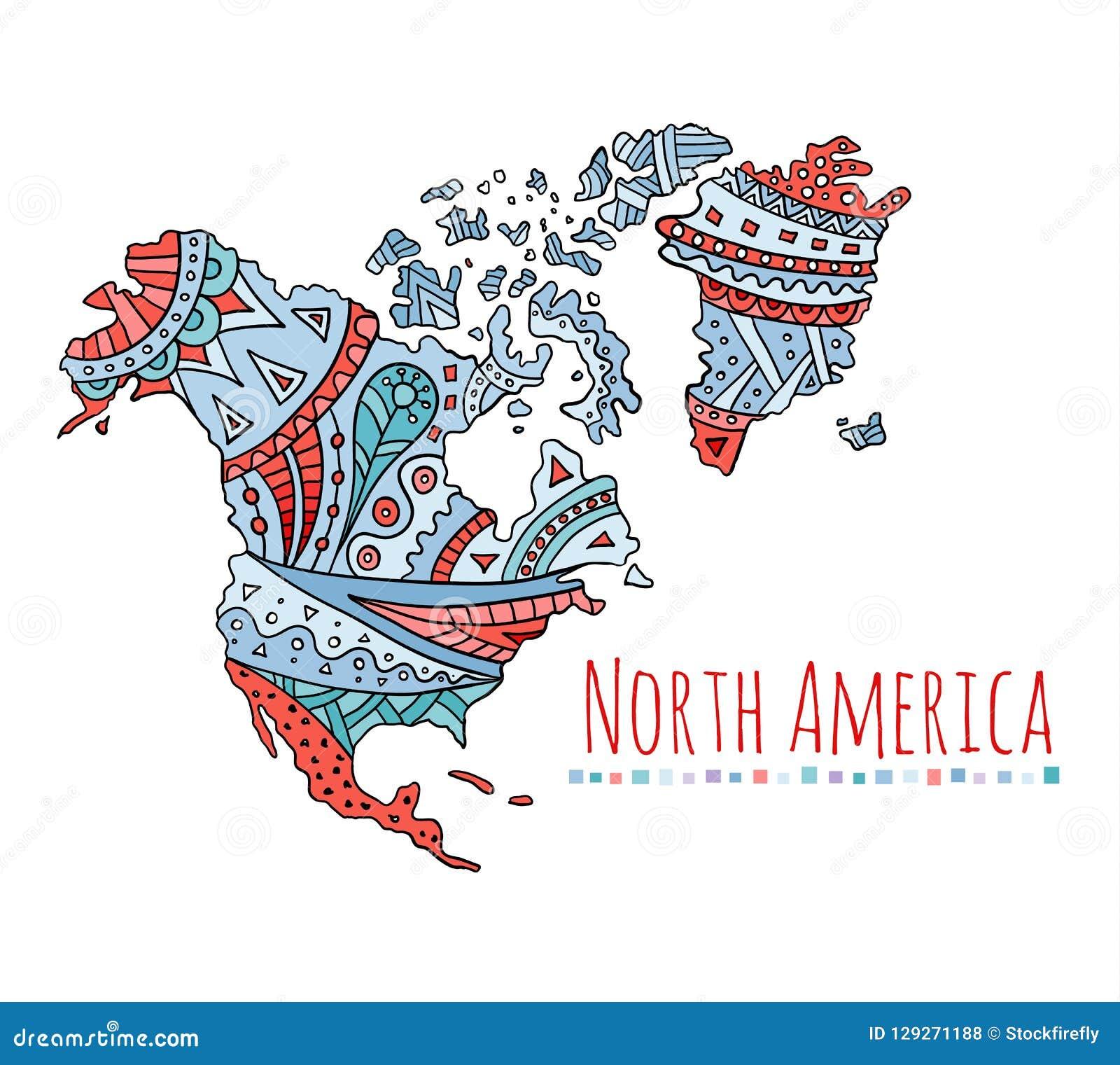 Målad översikt av Nordamerika Klottervektorkontinent