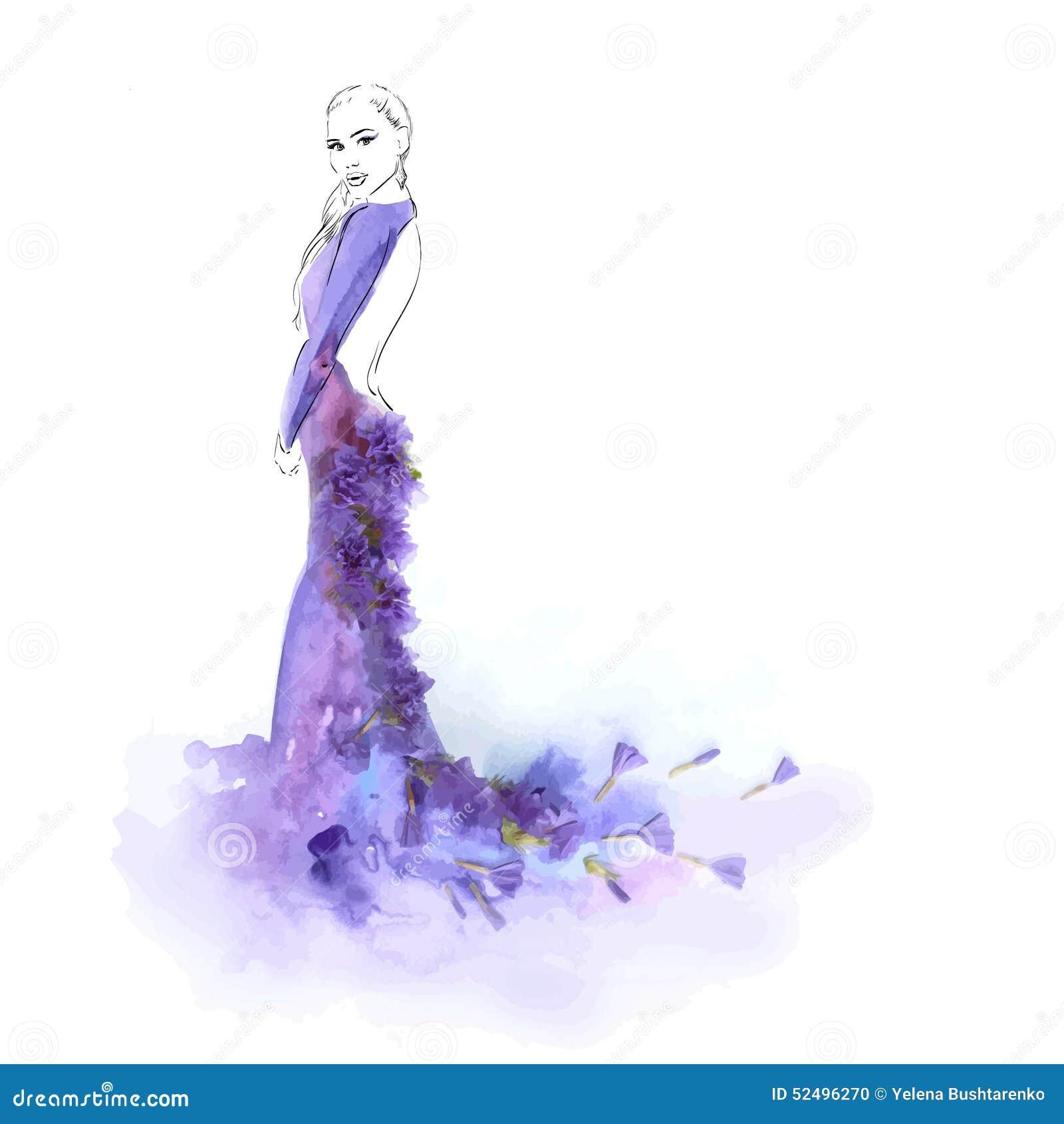 Målad Flicka I En Klänning Som Göras Av Blommor Vektor