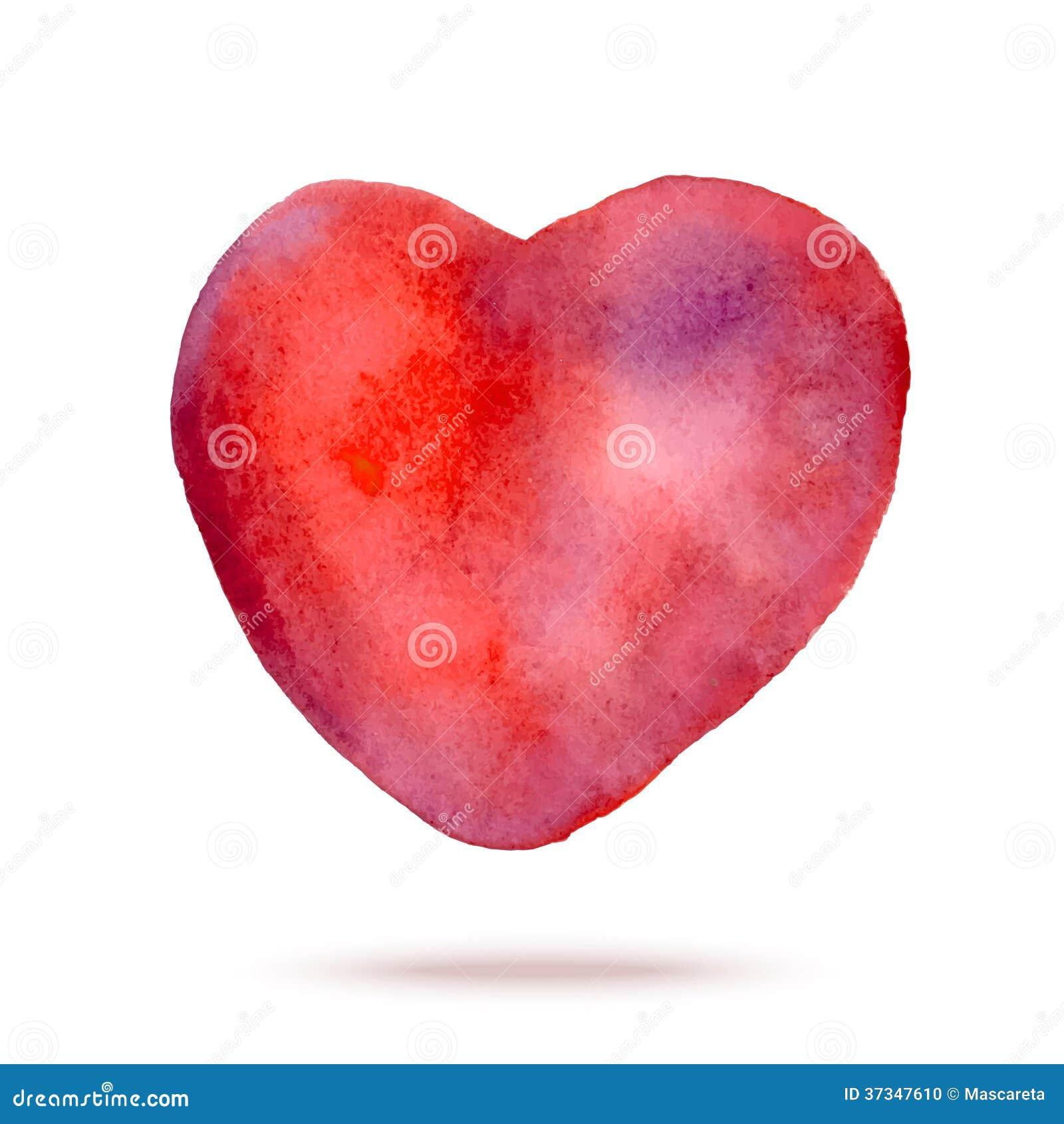Målad röd hjärta för vattenfärg hand