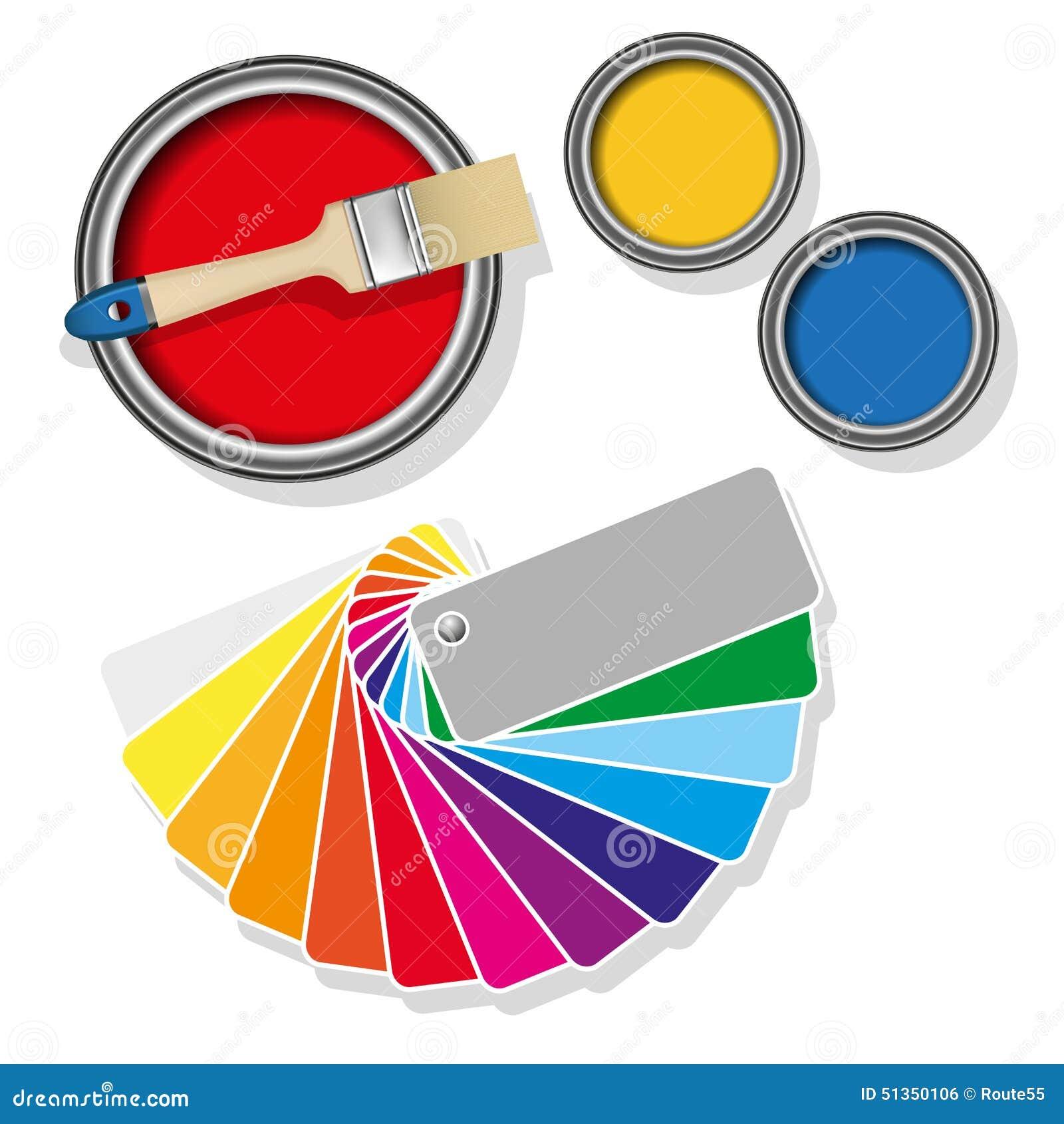 Målarfärgcans med färgade provkartor