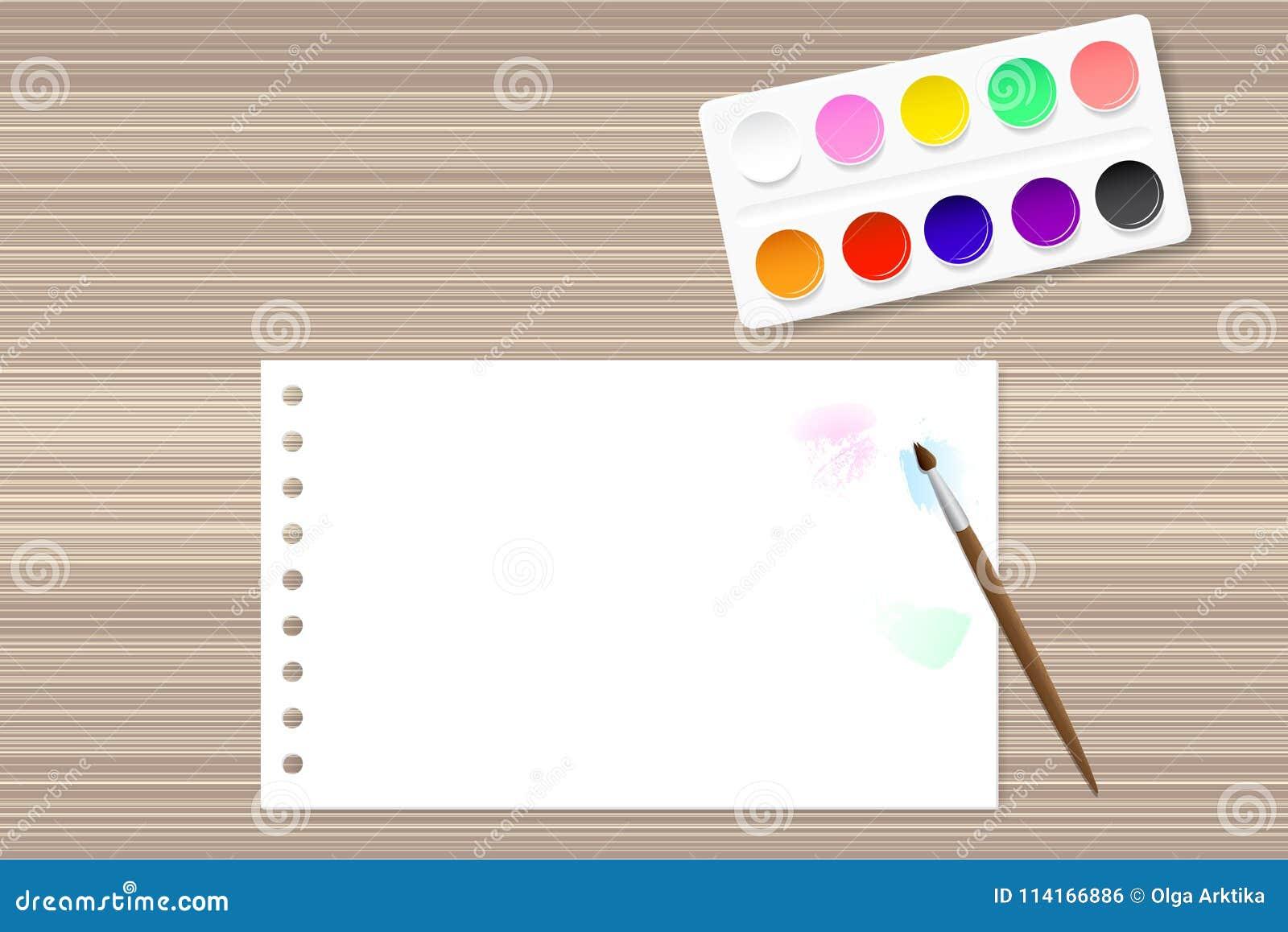 Målarfärger och papper på trätabellen