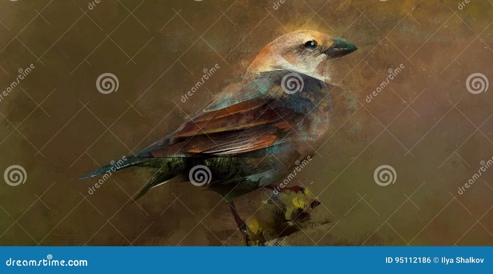 Målat sceniskt fågelsammanträde på en filial
