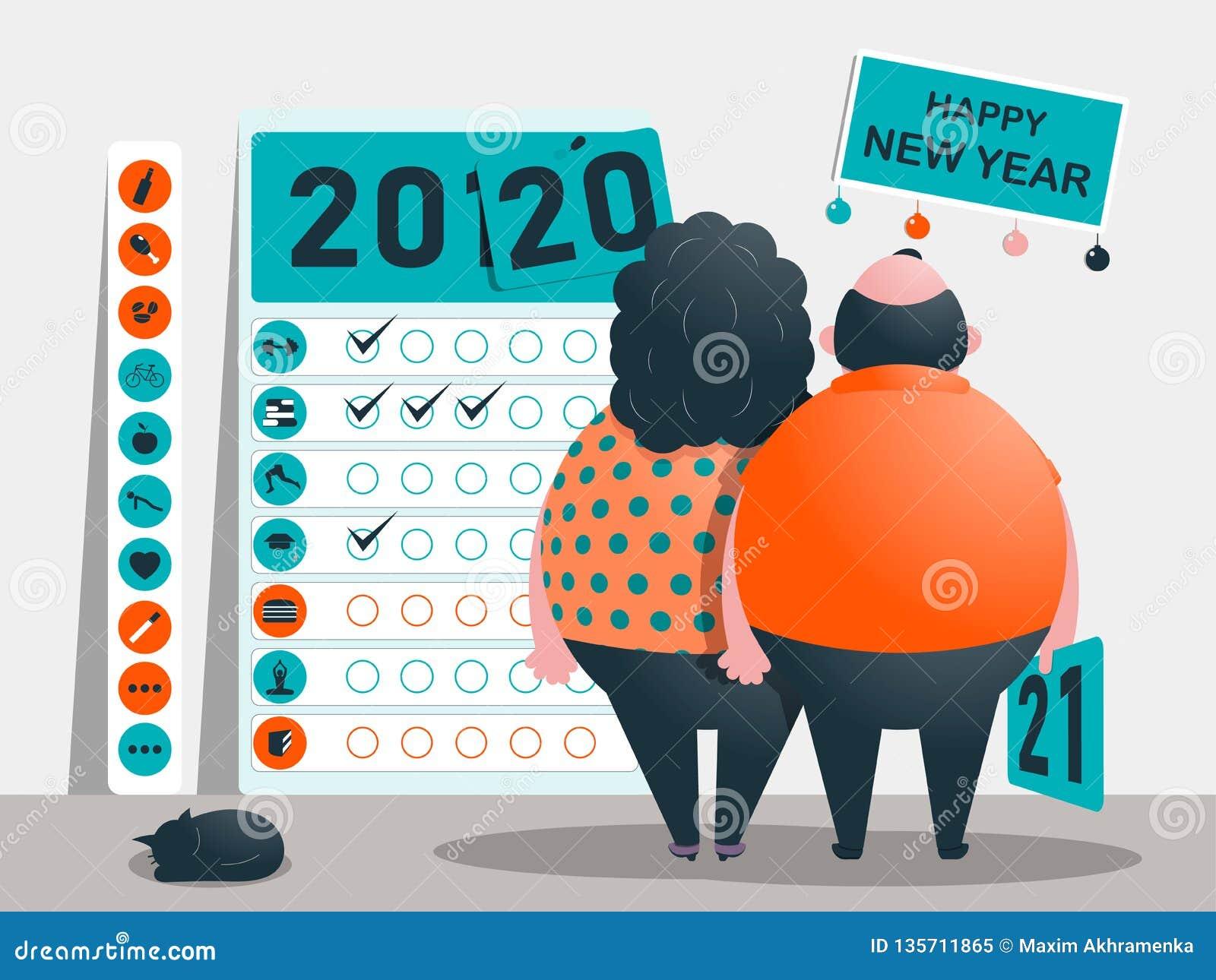 Målen, planet och målen för åren 2020 - 2021 Kalender av användbart och oskick och böjelser Roliga feta tecken