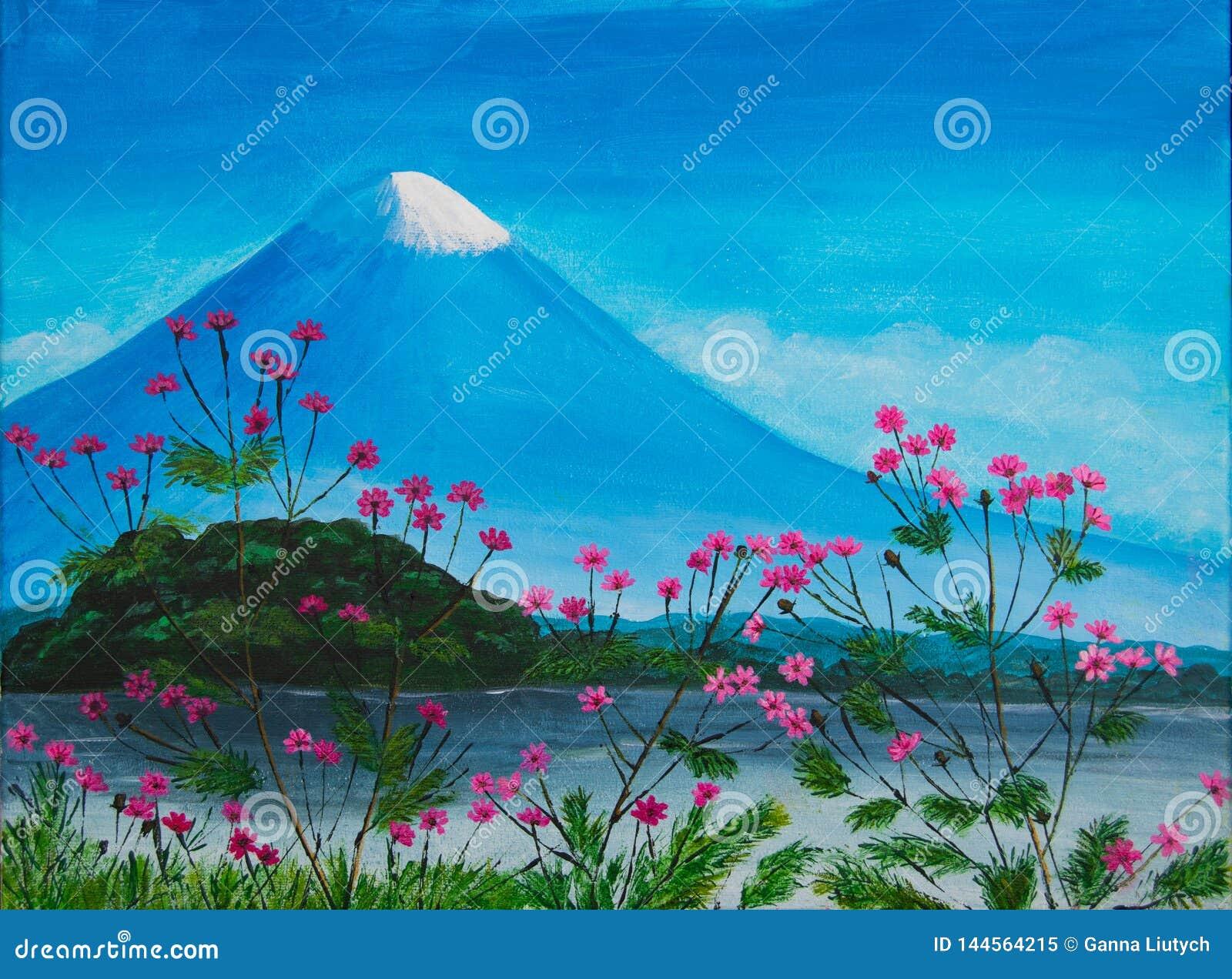 Målning med rosa blommor, sjön och Fuji