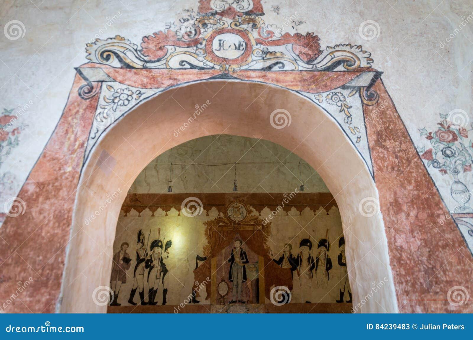 Målningar för jesuitbeskickningvägg i San Jose de Chiquitos, Bolivia