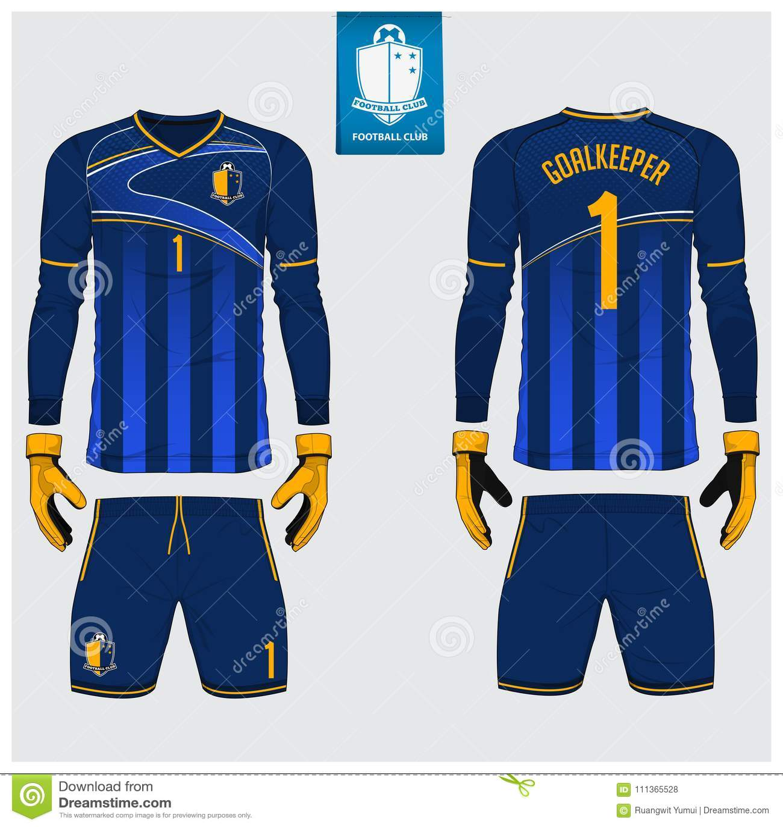 Målvaktärmlös tröja eller fotbollsats, lång muffärmlös tröja, design för målvakthandskemall T-tröjaåtlöje upp Framdel baksidasikt