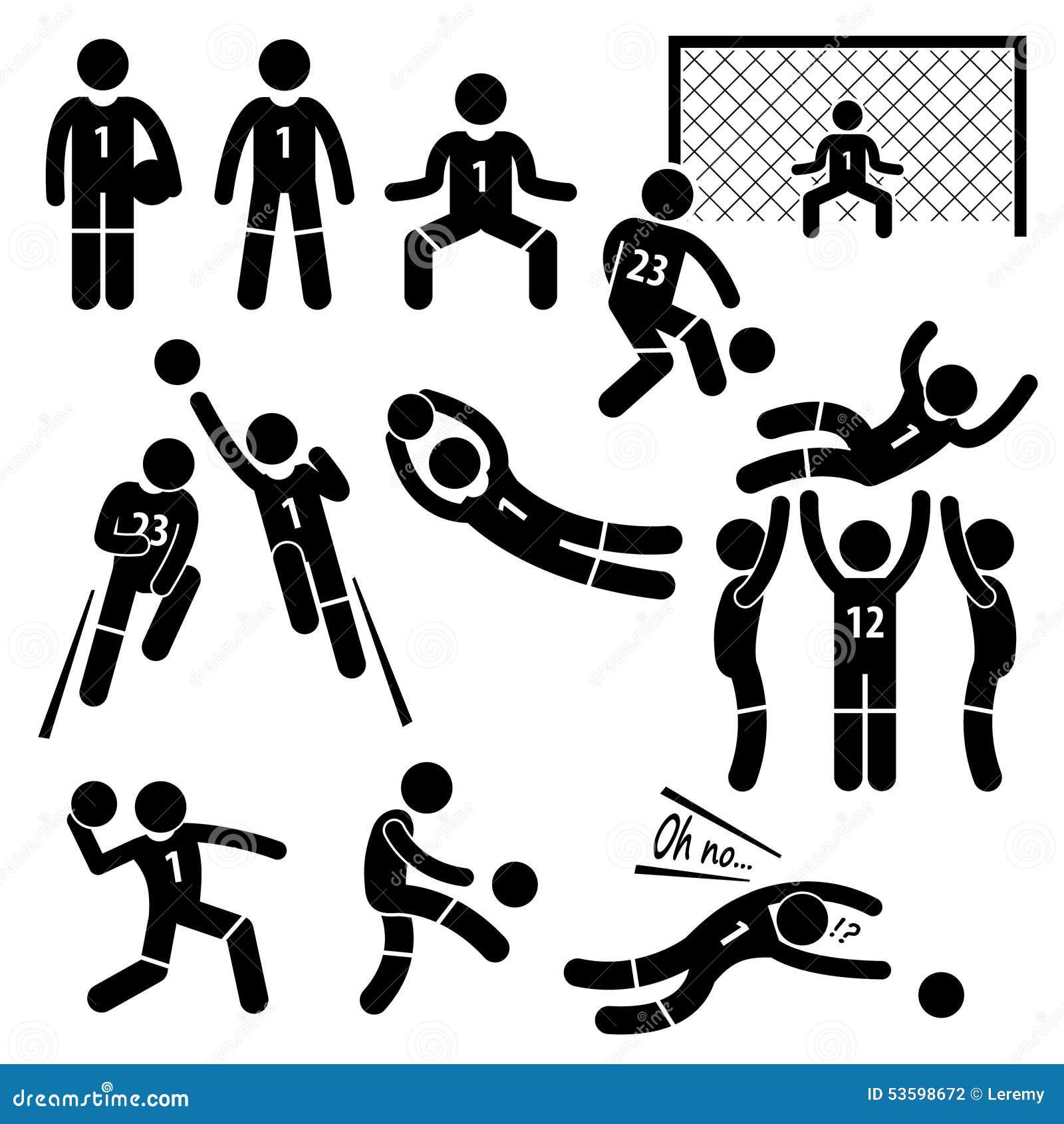Målvakten åtgärdar fotbollfotboll Cliparts