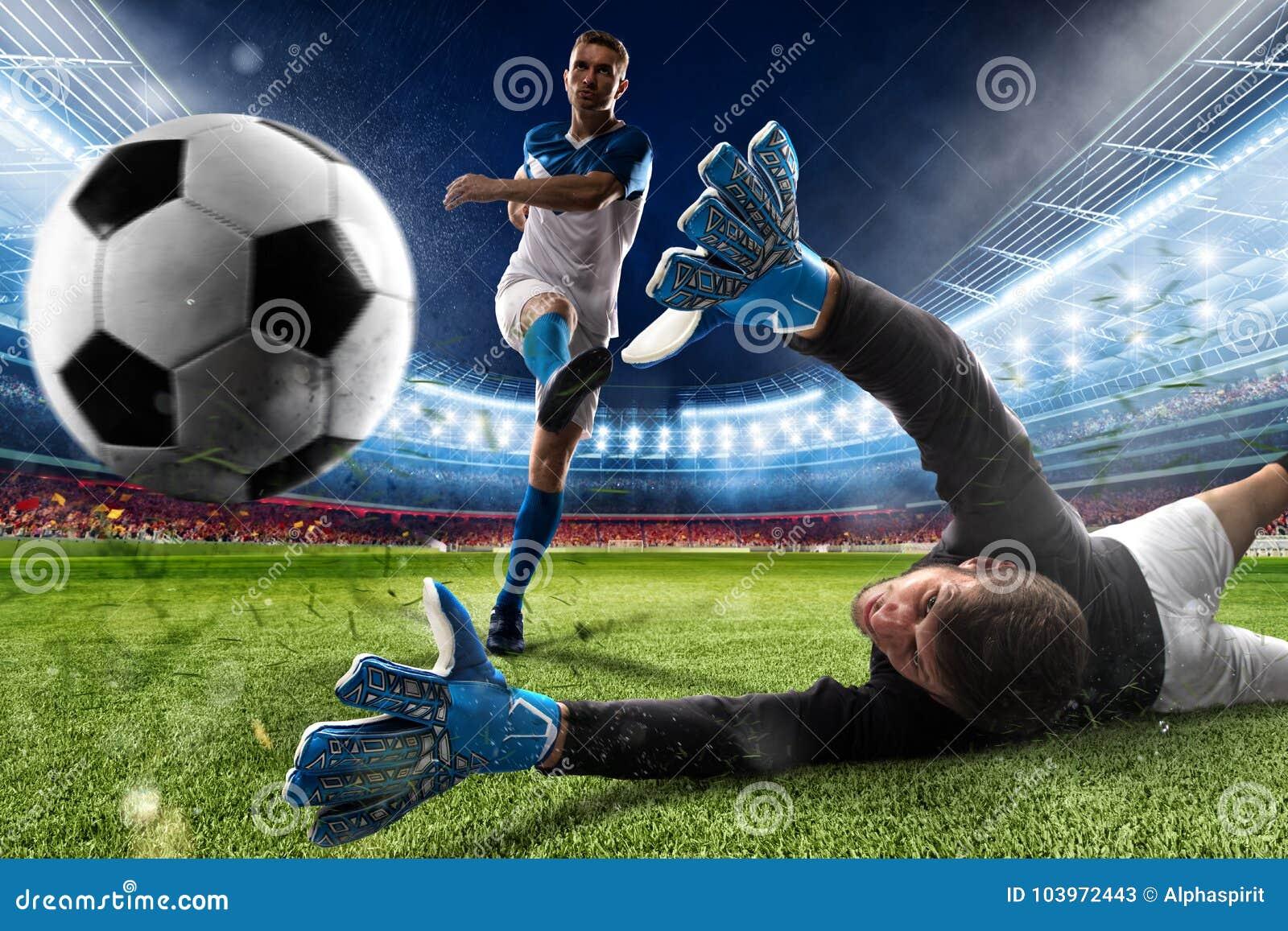 Målvakten sparkar bollen i stadion