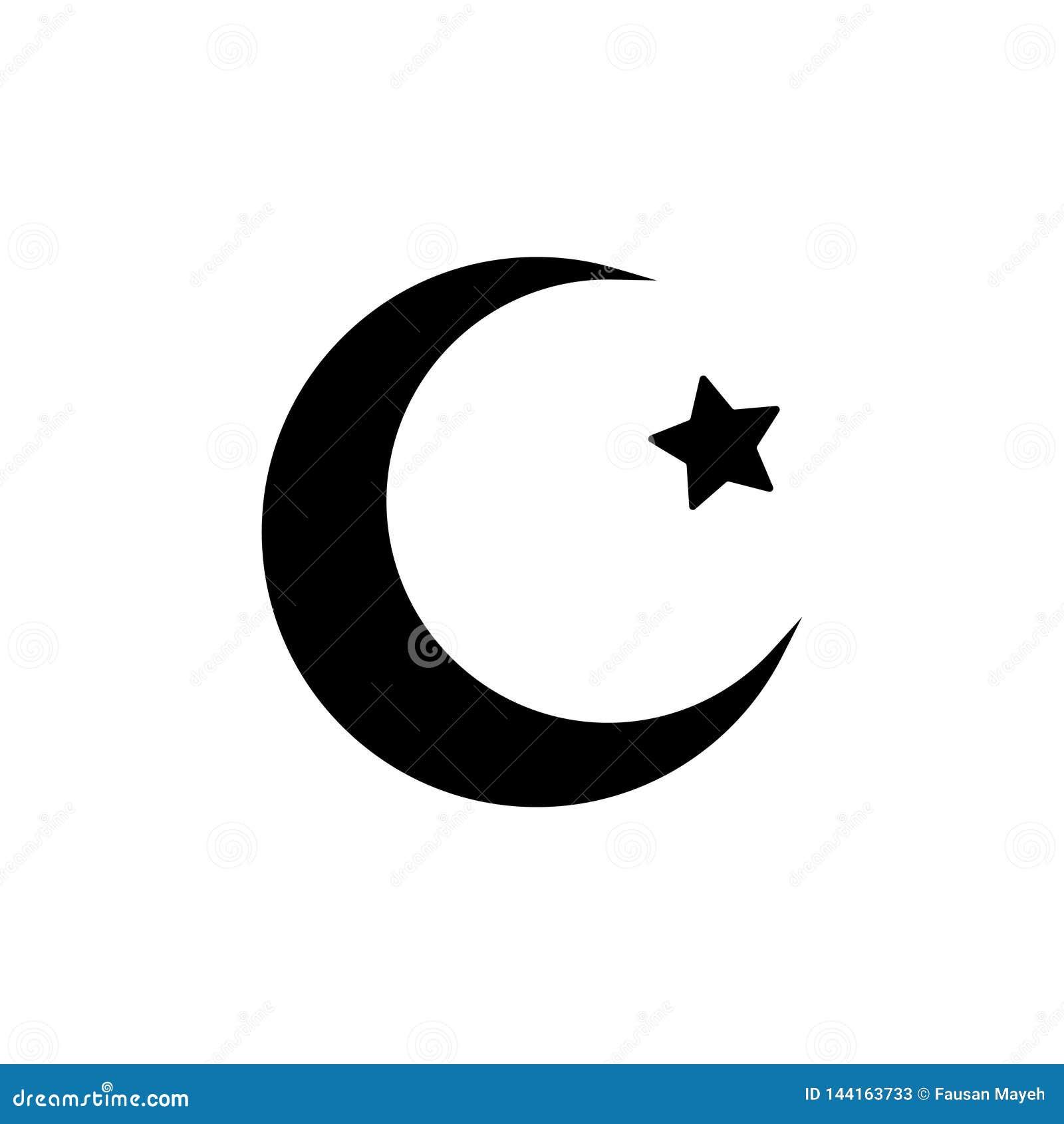 Måne- och stjärnasymbol Plan vektorillustration i svart på vit bakgrund