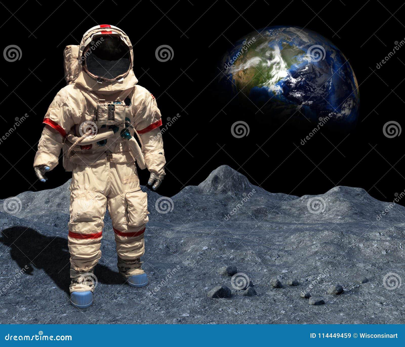 Månelandning, astronaut Walk, utrymme, mån- yttersida