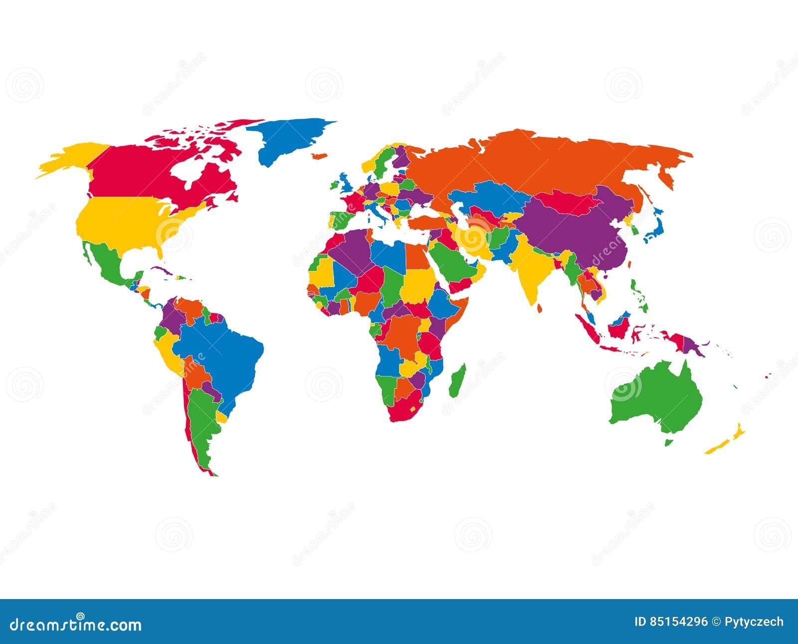 Mång--färgad tom politisk översikt av världen med nationella gränser av länder på vit bakgrund