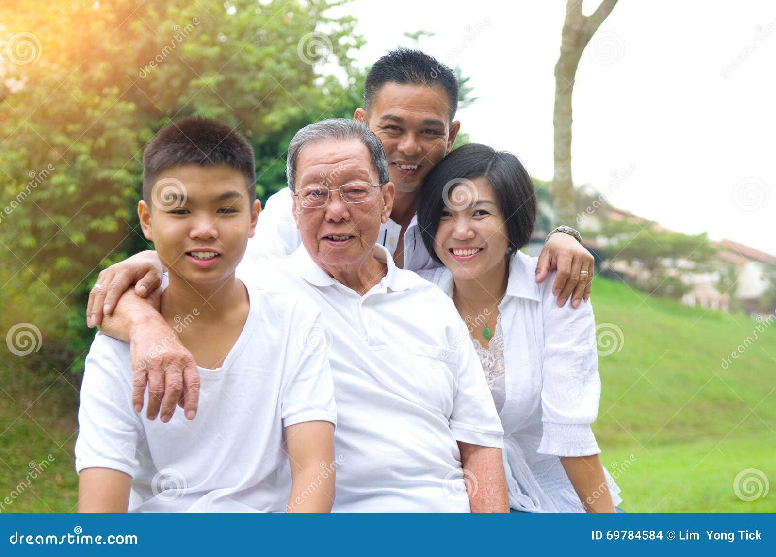 Mång--utveckling asiatfamilj