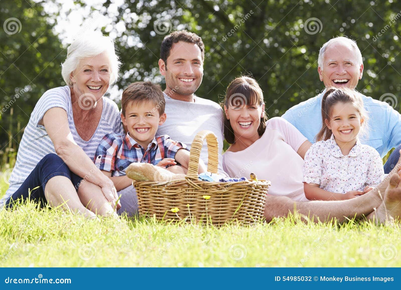 Mång- utvecklingsfamilj som tycker om picknicken i bygd