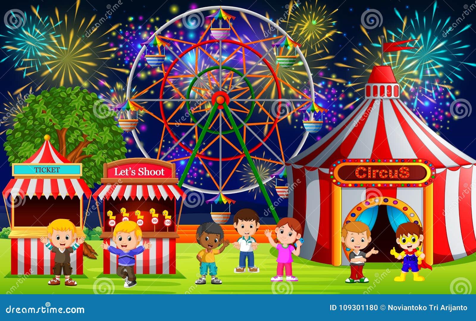 Många barn som har gyckel i karneval på natten