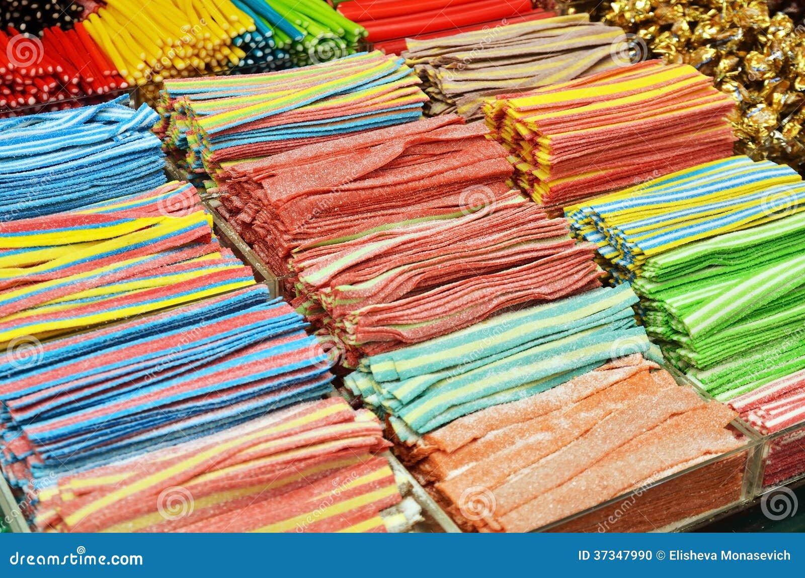 Många färgrika godisar