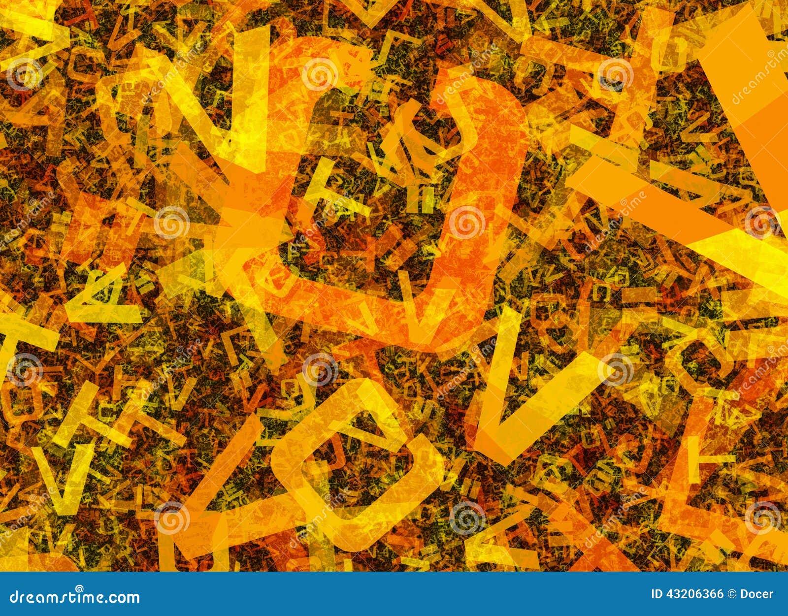 Många gör sammandrag kaotiska orange alfabetbokstäver